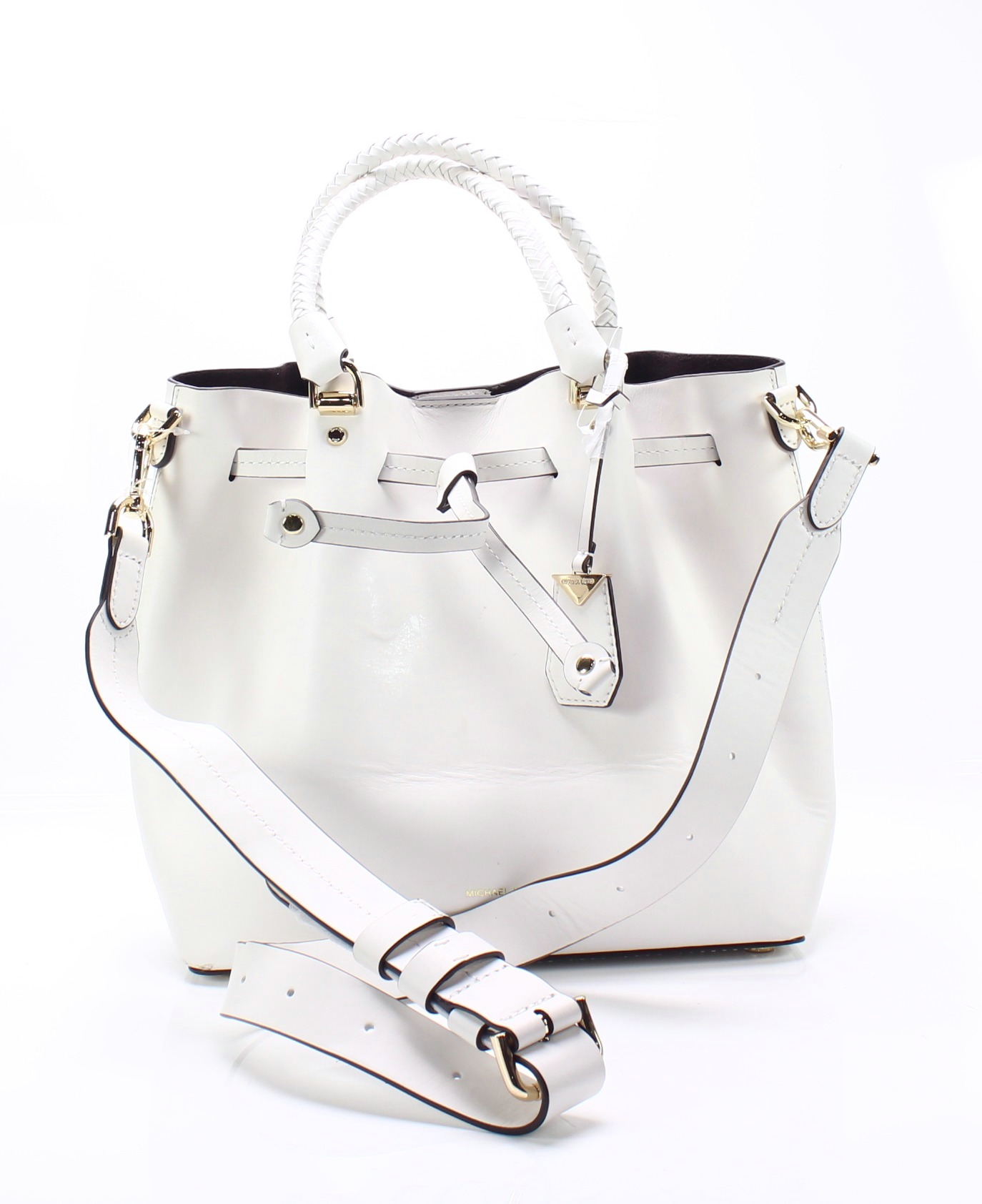 3db52c8c286c Michael Kors NEW Optic White Gold Blakely Leather Bucket Shoulder Bag  398-   008