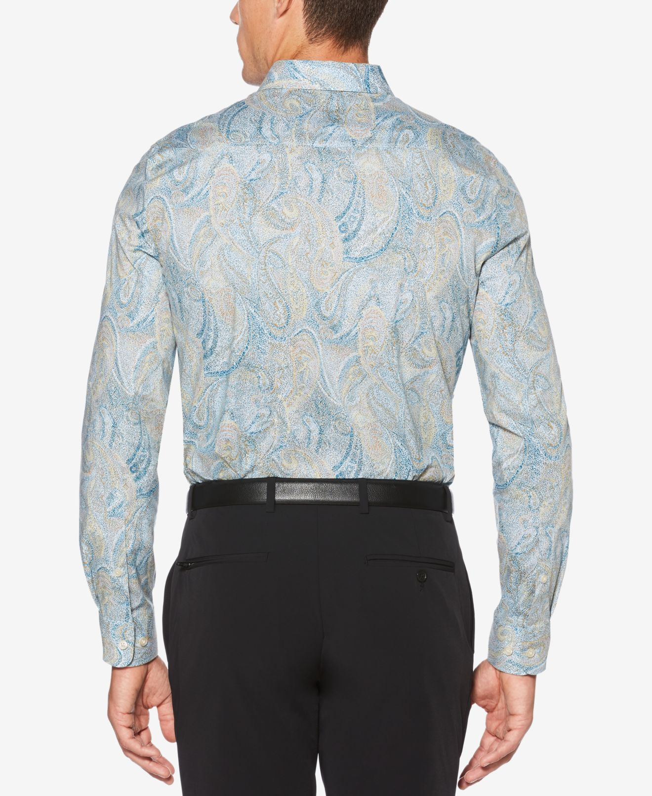 Perry Ellis NEW Blue Mens Small S Speckle Paisley Button Down Shirt ... 265cfce2c