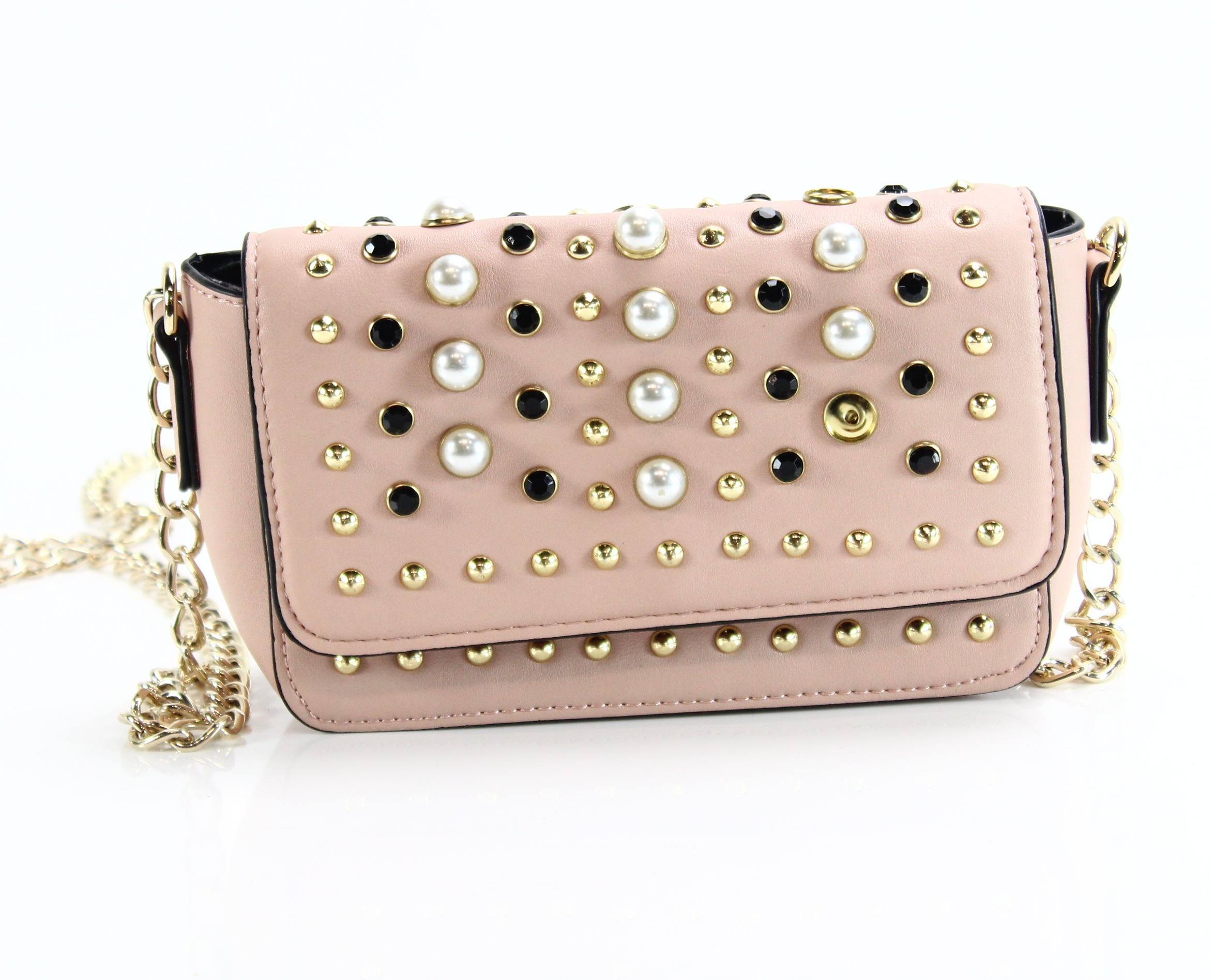 f4421e596b Details about Steve Madden NEW Pink Gold Aiden Embellished Mini Flap Crossbody  Bag $78- #045