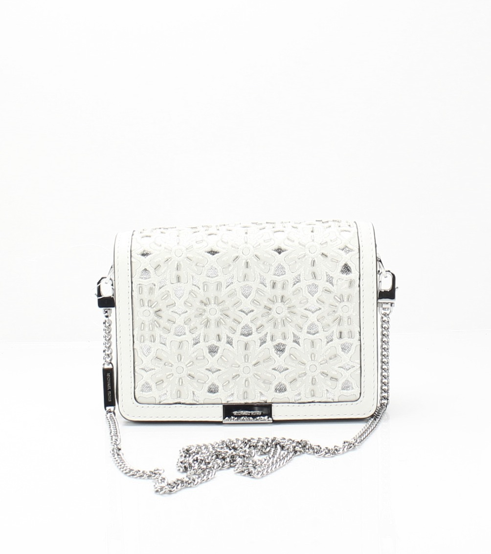 5984db7b8d4f78 Michael Kors NEW White Silver Jade Medium Gusset Floral Leather Clutch $298  #040
