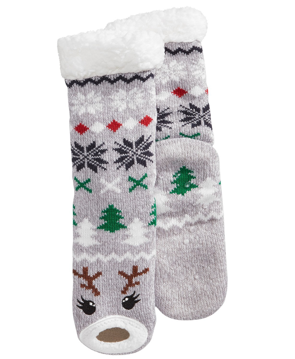 Charter-Club-NEW-Women-039-s-Holiday-Christmas-Sherpa-Fleece-Gripper-Slipper-Socks