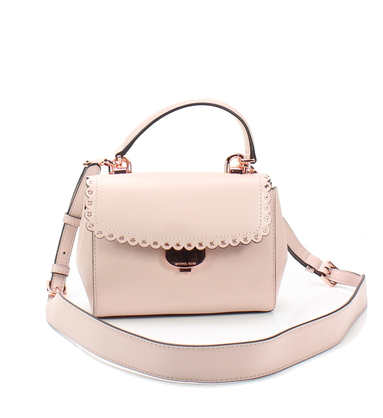 326c07a462b9a7 Michael Kors NEW Soft Pink Ava Extra-Small Scalloped Leather Crossbody $228  #022