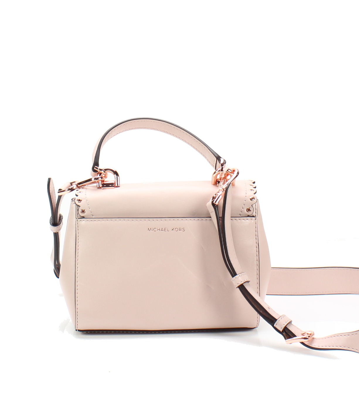 77a373fd568036 Michael Kors NEW Soft Pink Ava Extra-Small Scalloped Leather ...