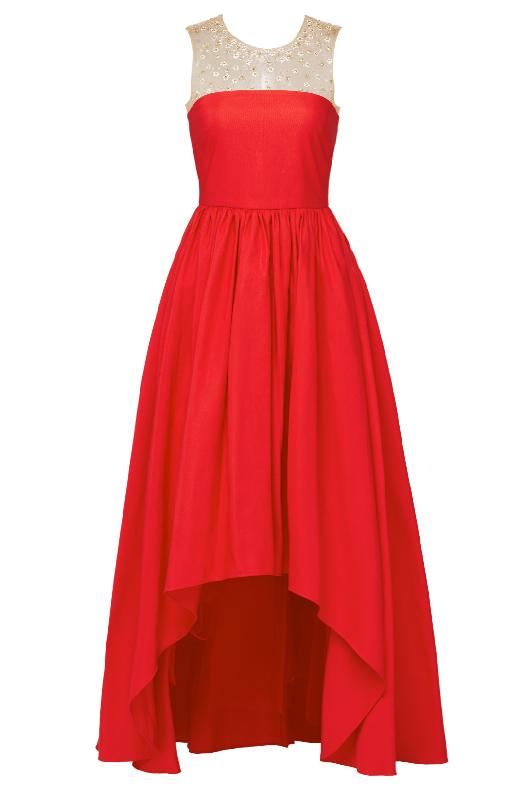 7c082af0 Details about Marchesa Notte Red Women's Size 12 High Low Beaded Yoke Gown  Dress $1295- #625
