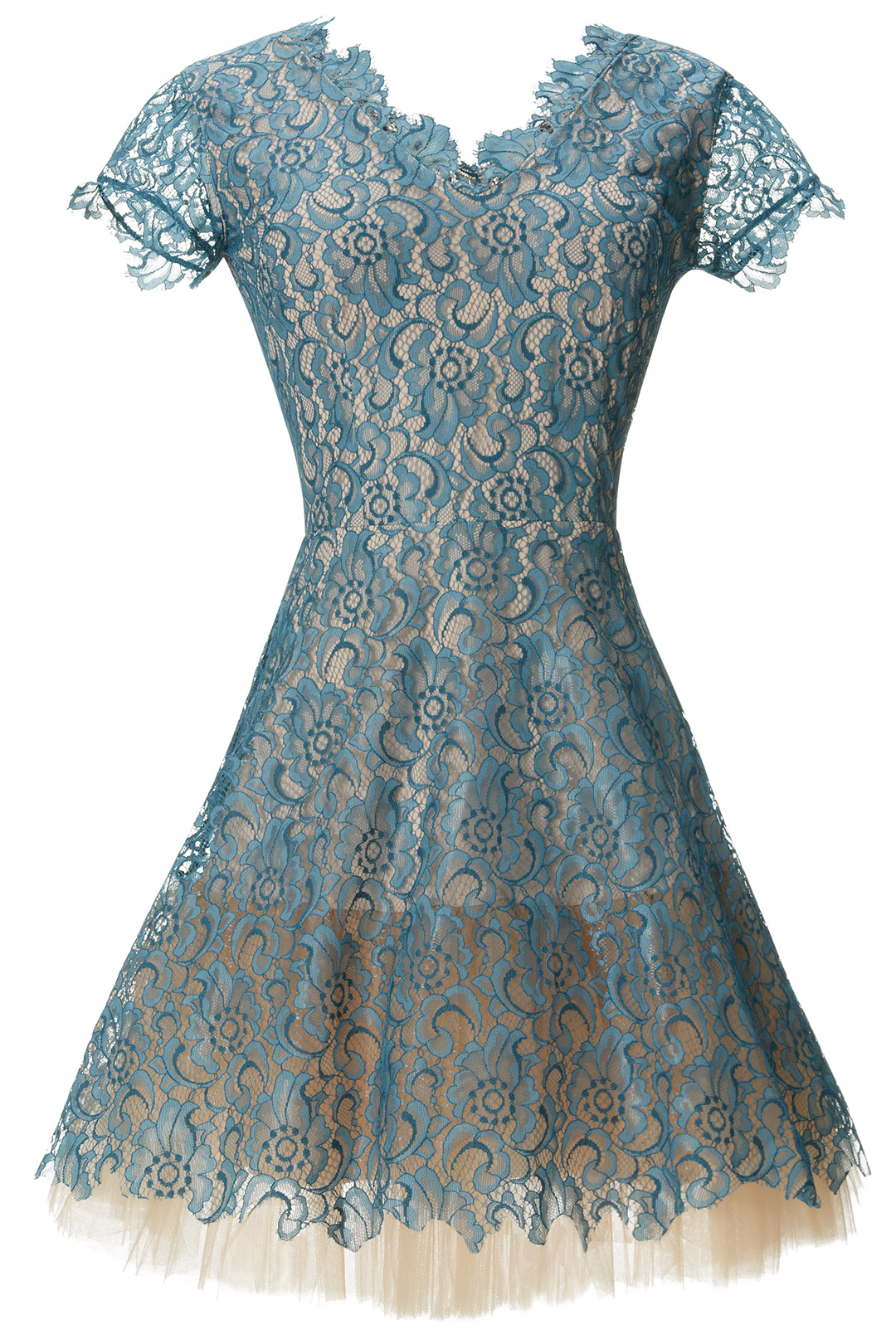 Nha khanh bluee Teal Floral-Lace Women's Size 2 Illusion A-Line Dress  595-