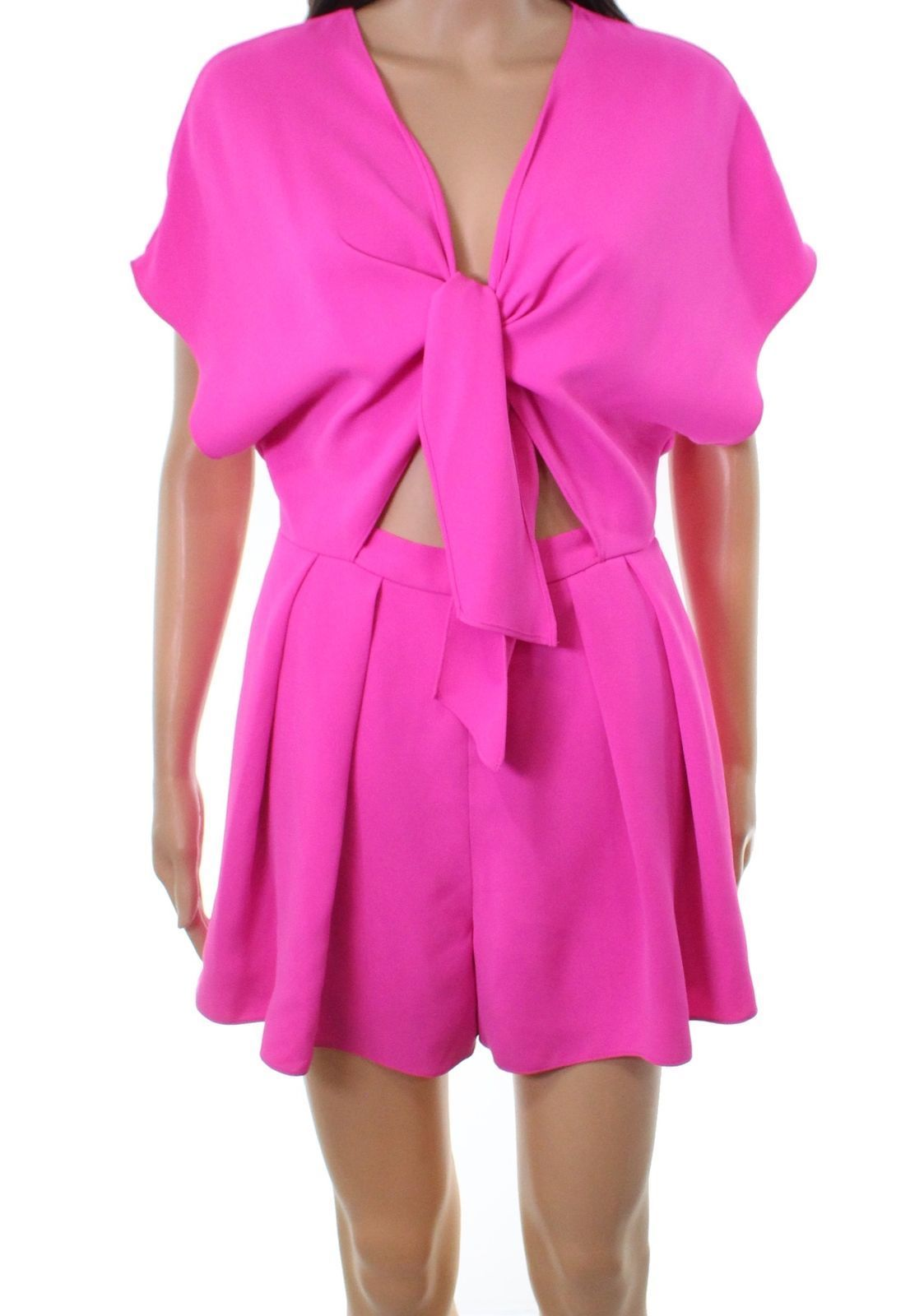 256831a2150a JAY GODFREY Pink Crepe Tie-Front Pleated Womens 2 Keyhole Romper ...