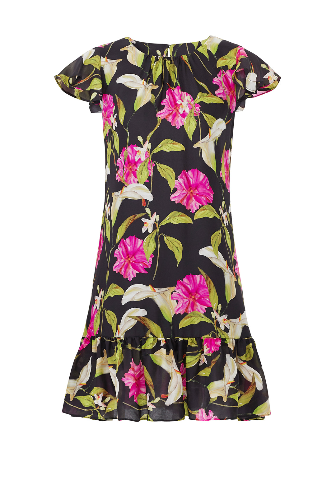 9d7623043bd7 Milly Black Floral Tropical Print Chiffon P Petite Shift Dress Silk $425-  #886