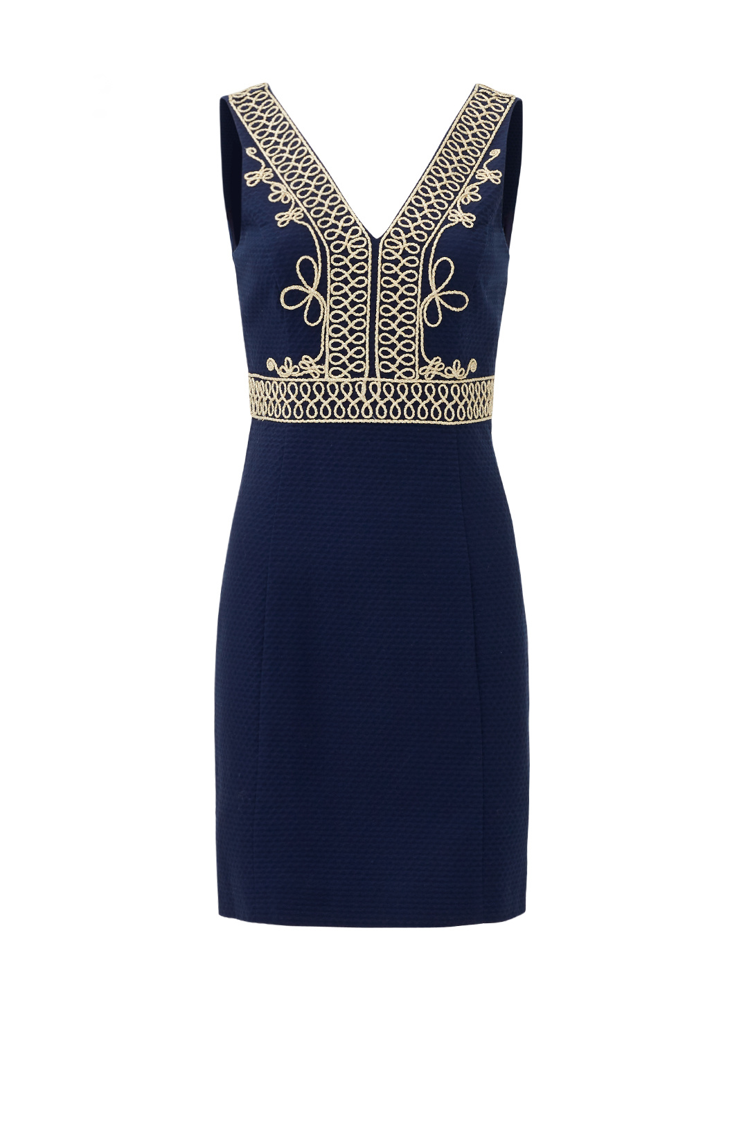 9c3ac8ee1fae5 Details about Lilly Pulitzer Blue Gold Embroidered Navy V-Neck Women 2  Sheath Dress  225-  895