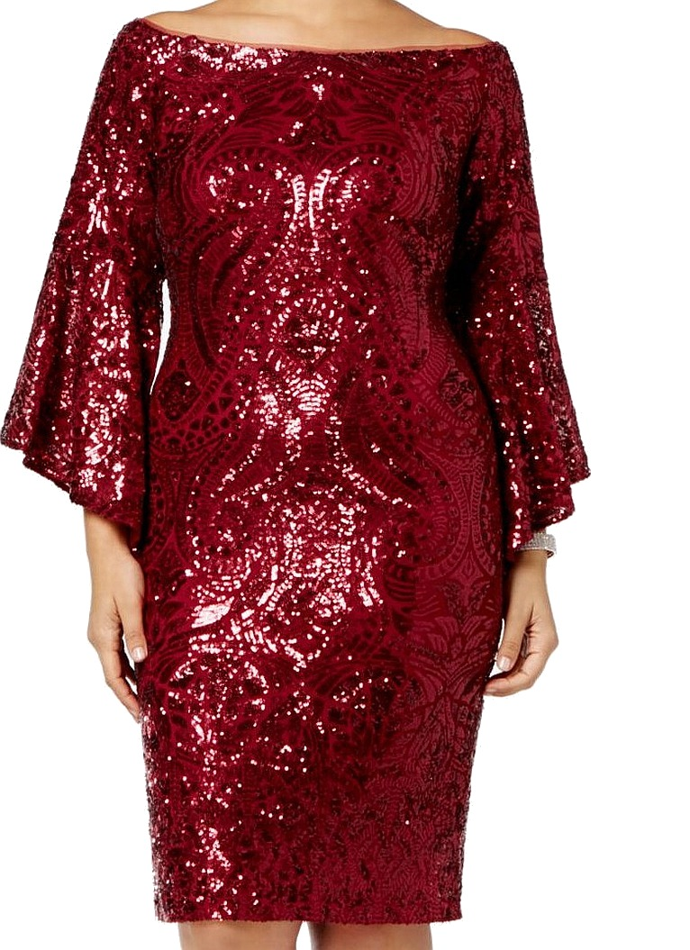 633072351f Betsy Adam NEW Red Women 16W Plus Sequined Bell-Sleeve Sheath Dress  319   157