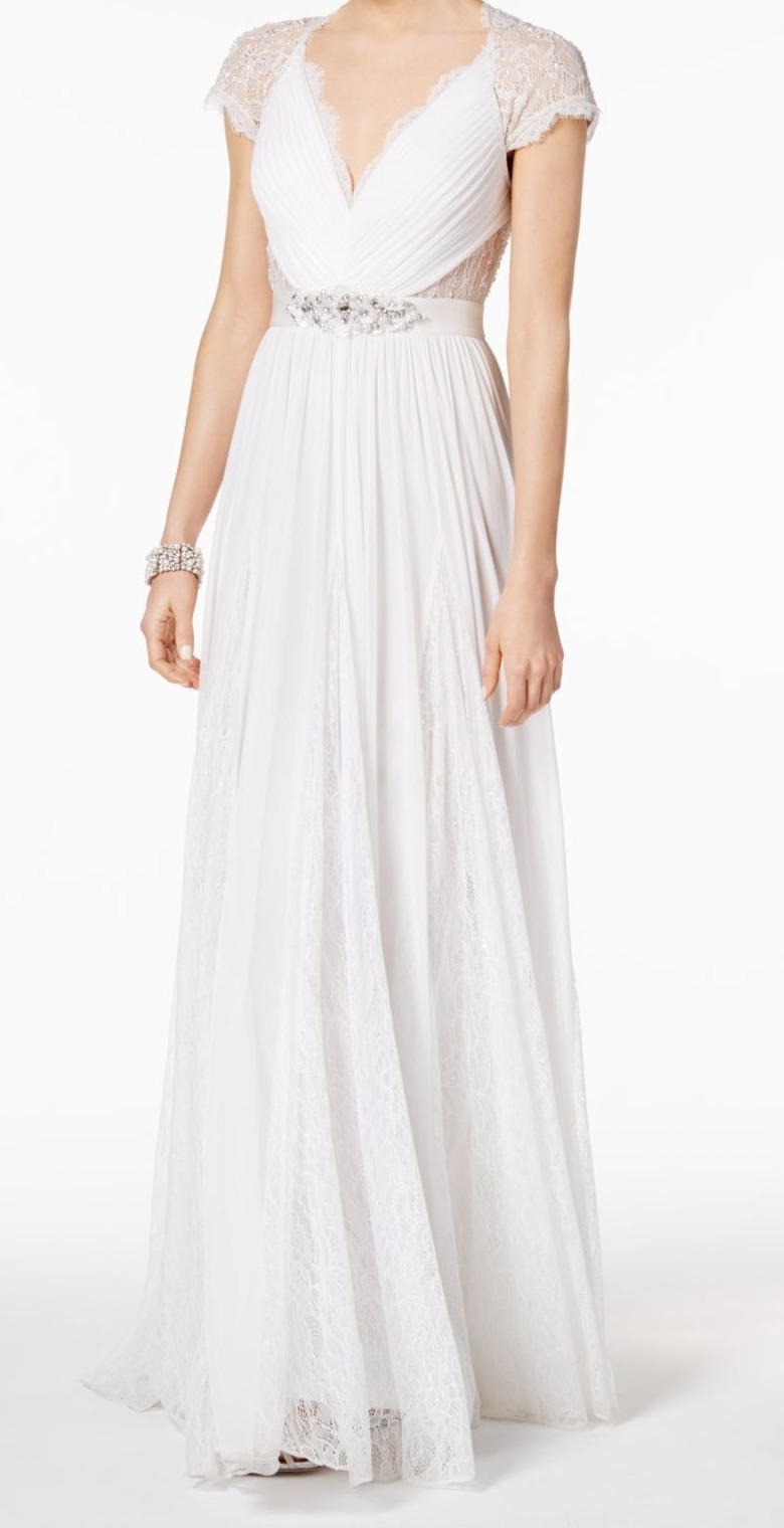 Adrianna Papell NEW White Women Size 10 Embellished Waist Bridal Gown  349