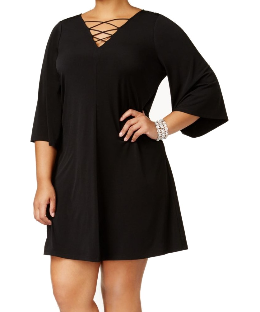 d615633e1a1 Jessica Howard NEW Black Women s 16W Plus Lace-Up Bell-Sleeve Dress  79