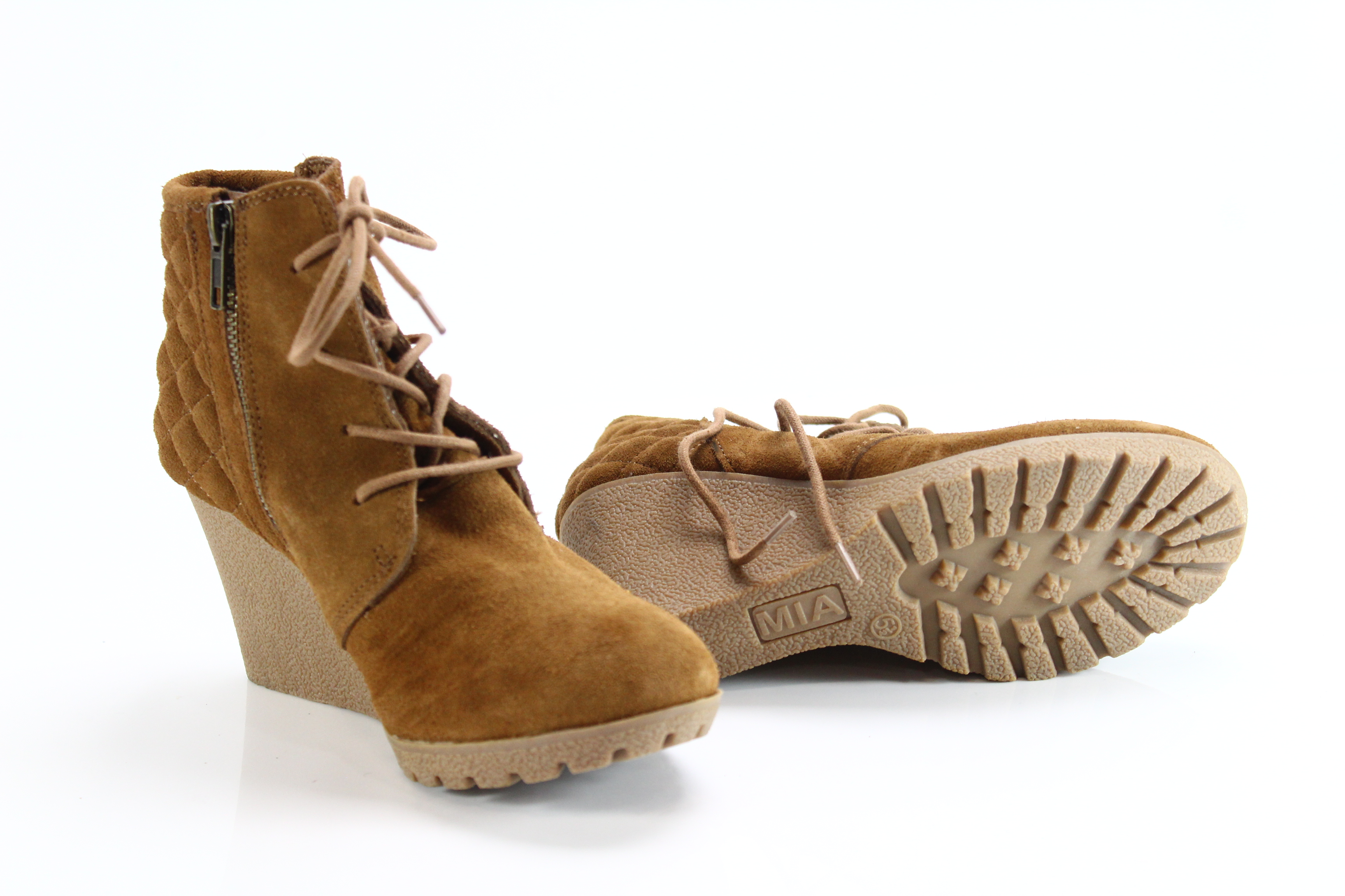e8a1855b71d MIA NEW Brown Women s Size 5.5M High Heel Wedge Lace Up Booties Suede  69-   269
