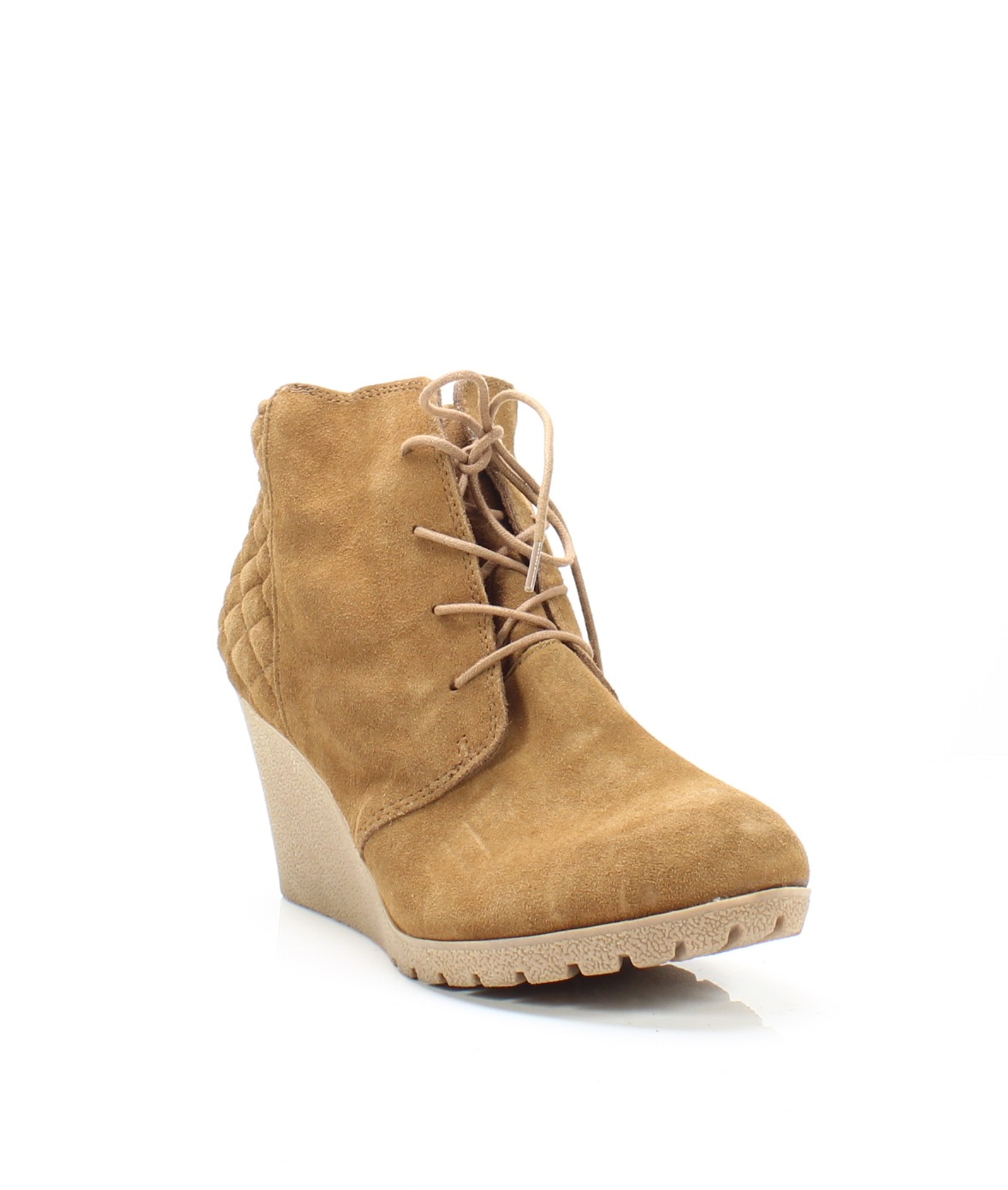 e7bfcb78f97 MIA NEW Tan Women s Size 13M Debra Quilted Suede Wedge Lace-Up Boots  69-   308