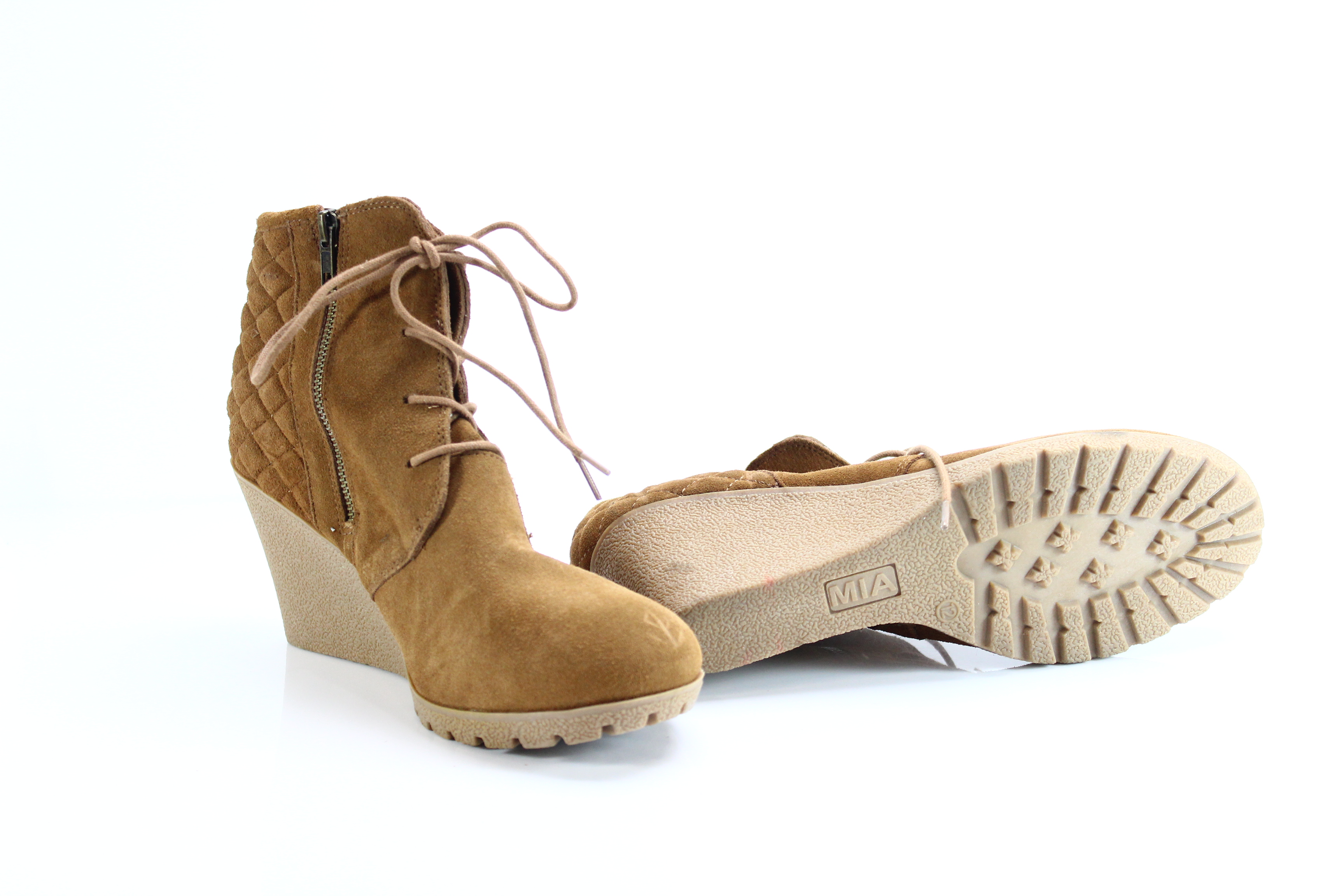 c8d78becdba Details about MIA NEW Brown Women s Size 12M Debra Wedge Heeled Booties  Leather  69-  615