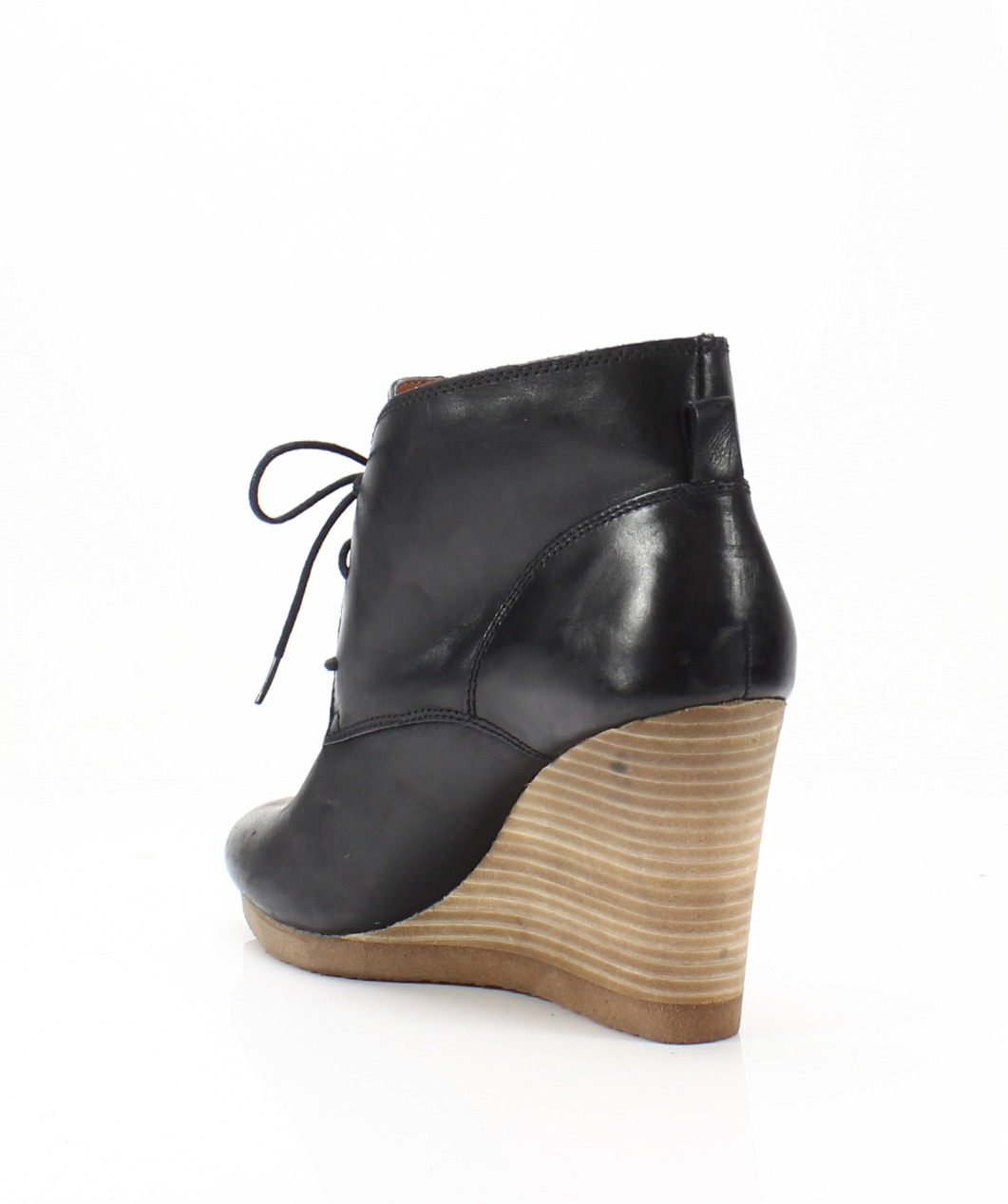0b8d2d6900e Lucky Brand NEW Black Women s Size 10M Taheeti Leather Wedge Booties ...