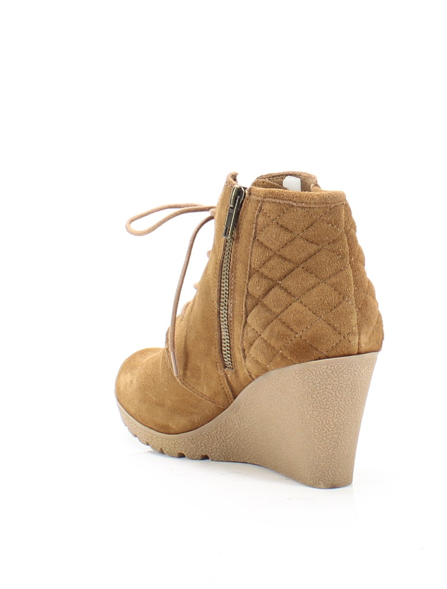 02123939e4f MIA NEW Brown Women s Size 8M Debra Quilted Lace-Up Wedge Suede Booties  69   976