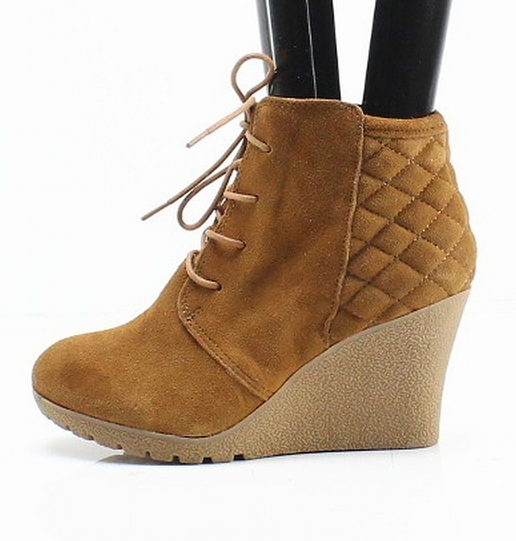 9913cdf4067 MIA NEW Brown Quilted Suede Debra Women s 6M Laced Up Wedged Booties  69-   249