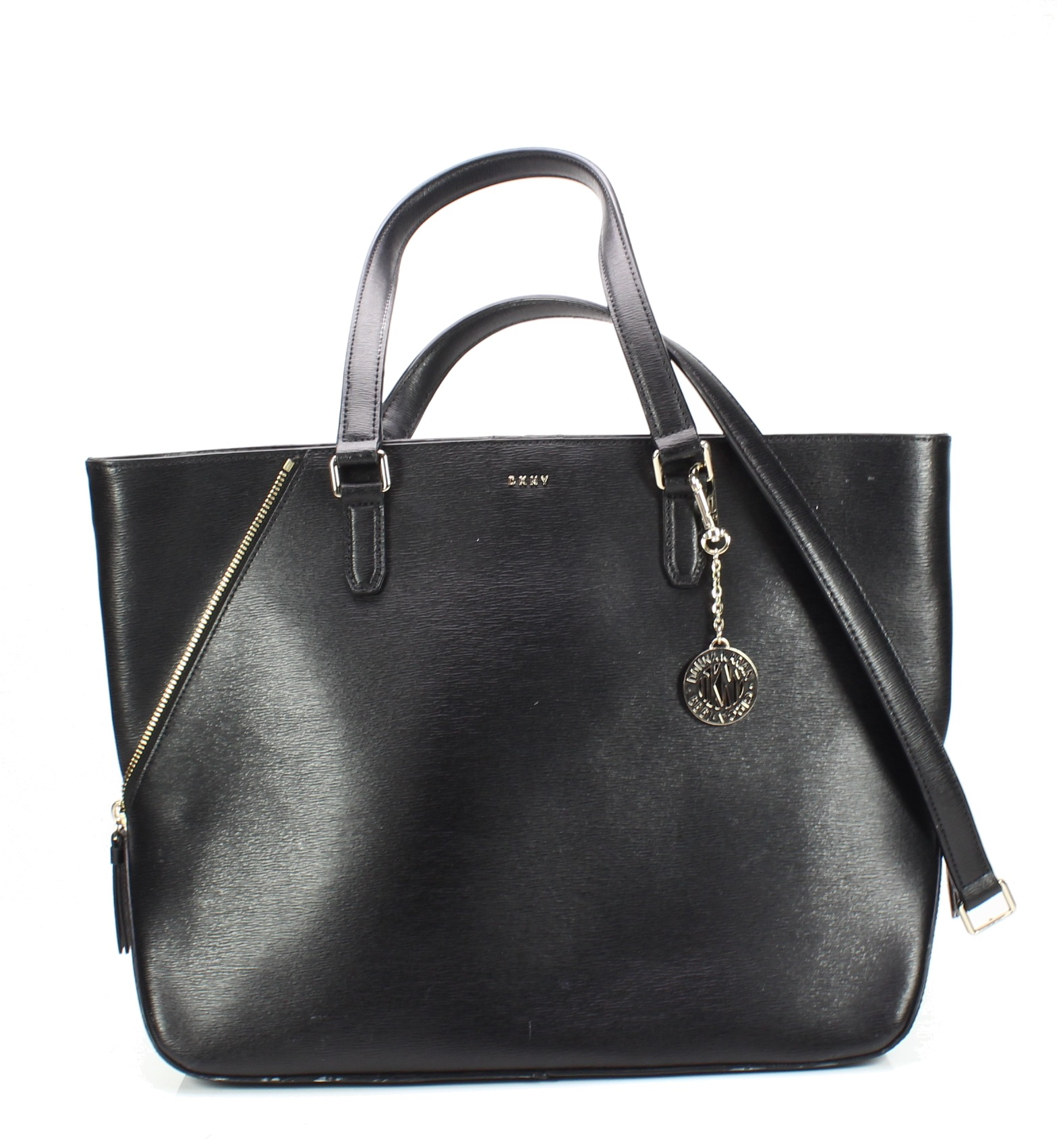 Details about DKNY Black Gold Bryant Top-Zip Textured Leather Large Tote Bag   268-  047 f5456e61994c4