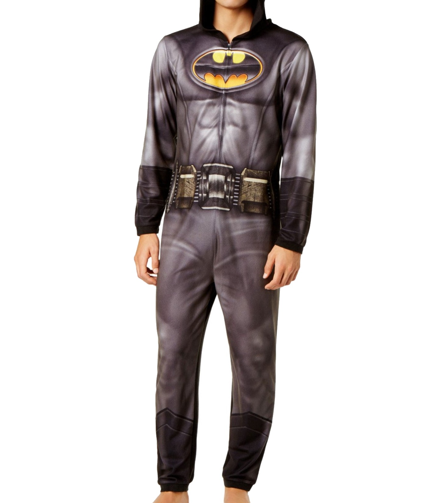 BRIEFLY STATED NEW Black Mens Large L Batman Hooded Footed Pajamas  70-  082 720b58276d8e
