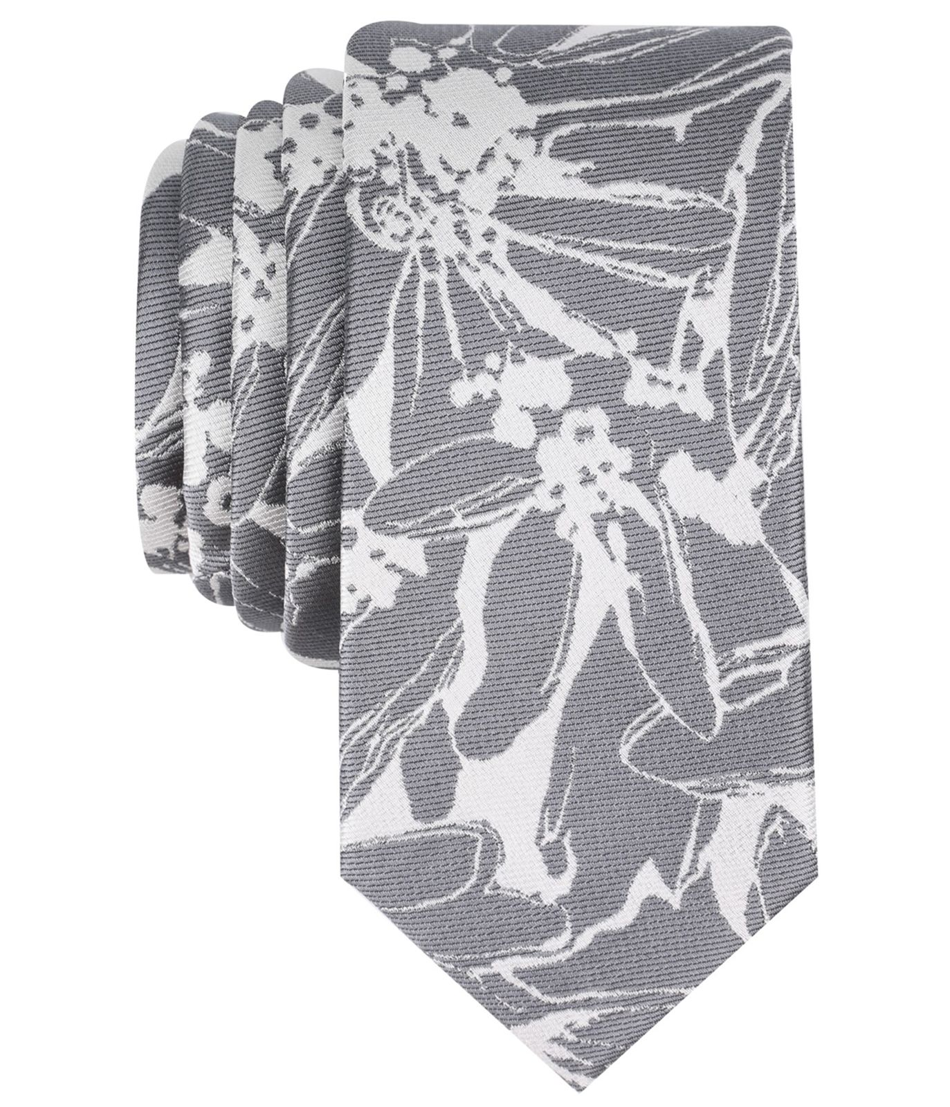 New-Bar-III-NEW-Gray-Men-039-s-One-Size-Abstract-Floral-Skinny-Neck-Tie-55-346