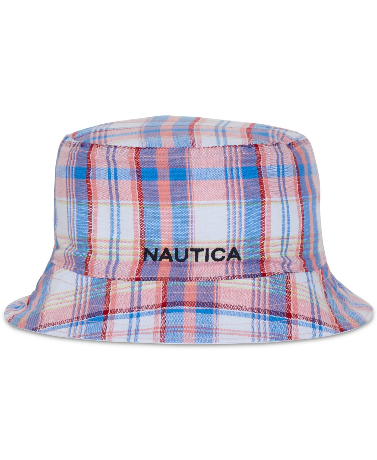 Details about Nautica NEW Pink White Men s Size S M Reversible Plaid Solid Bucket  Hat  35  263 85e3ac25f4b