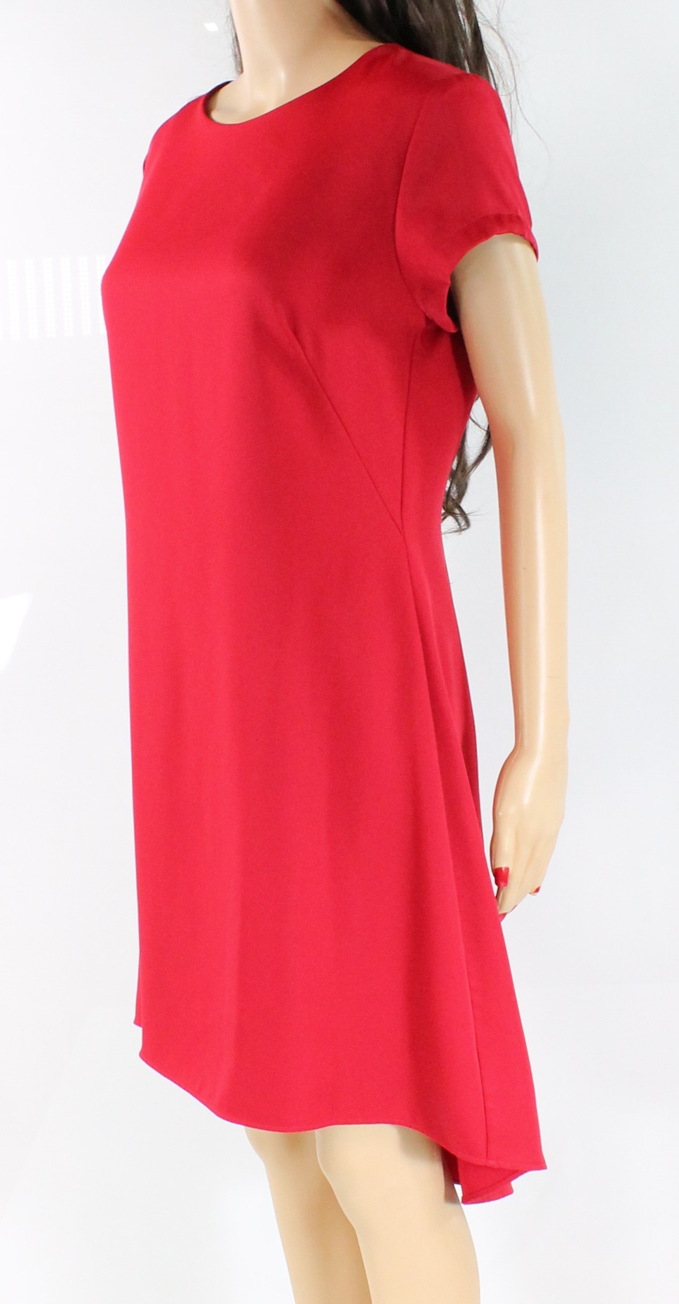 Nha Khanh Red Crepe Short-Sleeve Women's Size Size Size 6 Hi-Low A-Line Dress  425- 513ac6