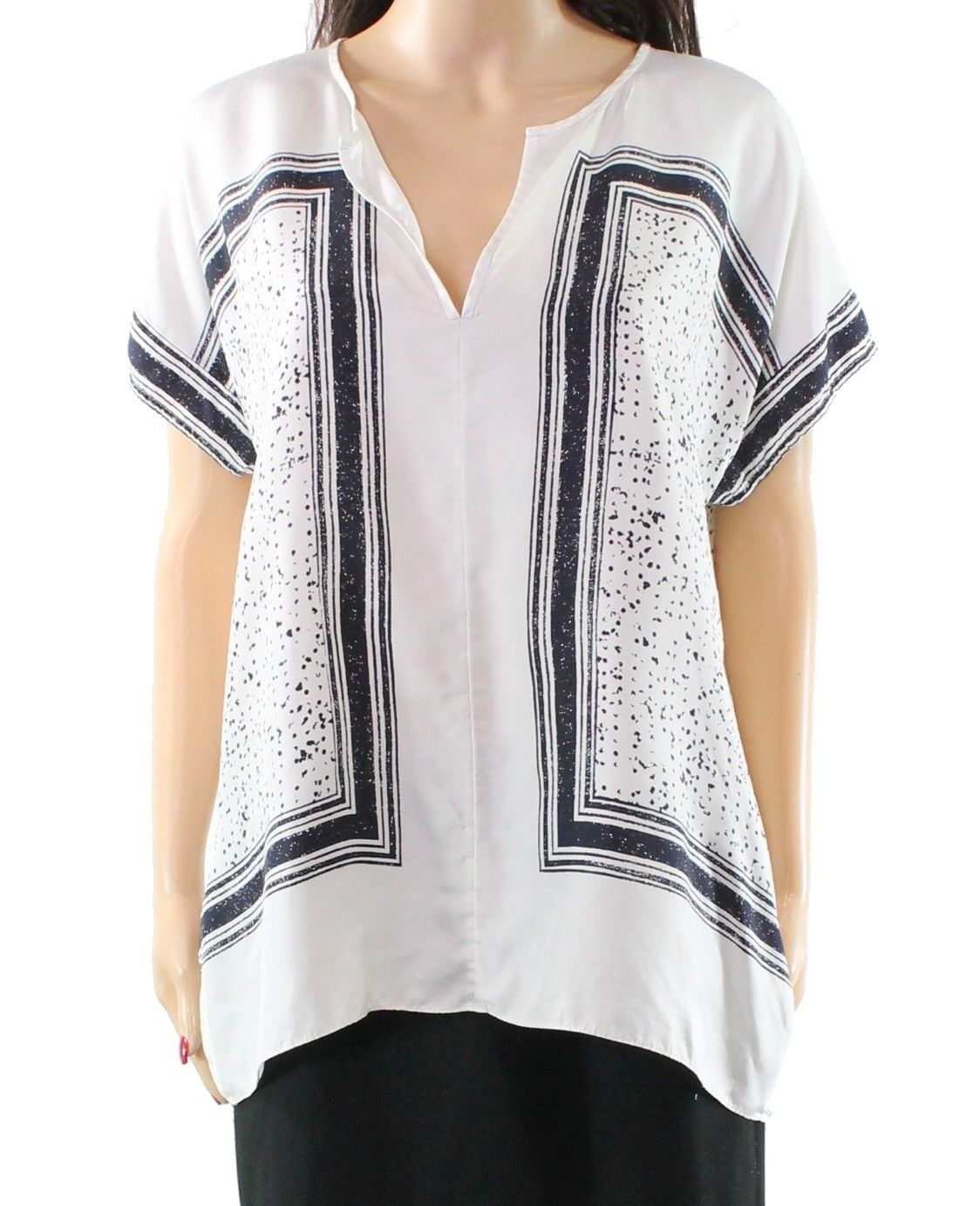 b91b3d27b1227 Vince White Women s Size Small S Scarf Print Popover Blouse Silk ...
