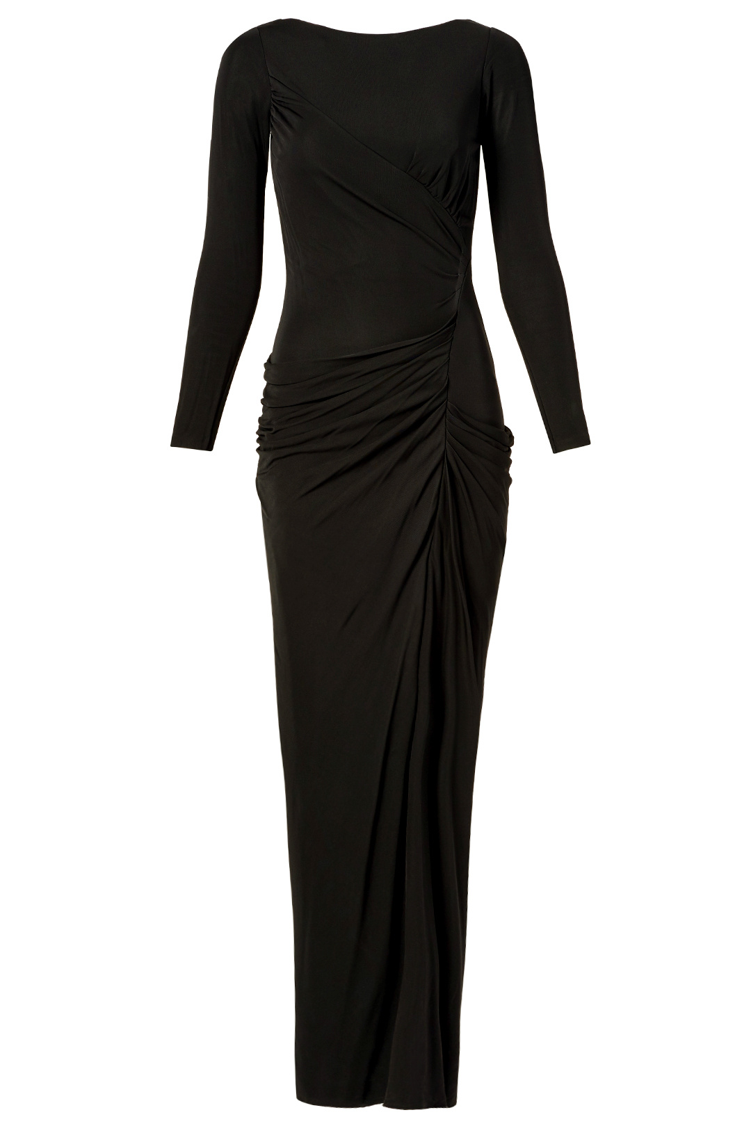 Badgley Mischka Black Ruched Women's US Size 2 Long Sleeve Gown Dress $935- #884