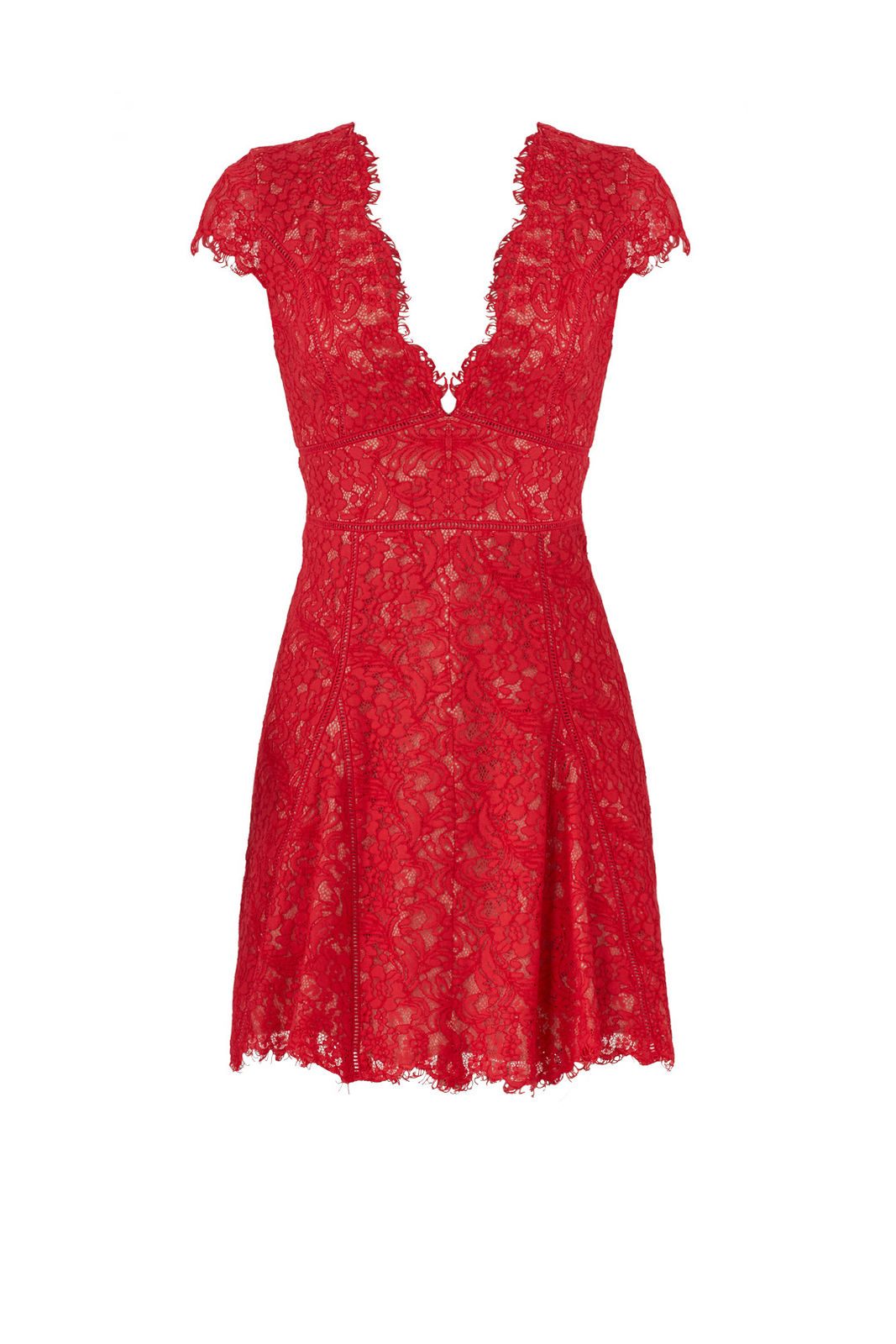 Stylestalker Red Nude Floral Lace Cap Sleeve Pleated XS A-Line Dress  495-