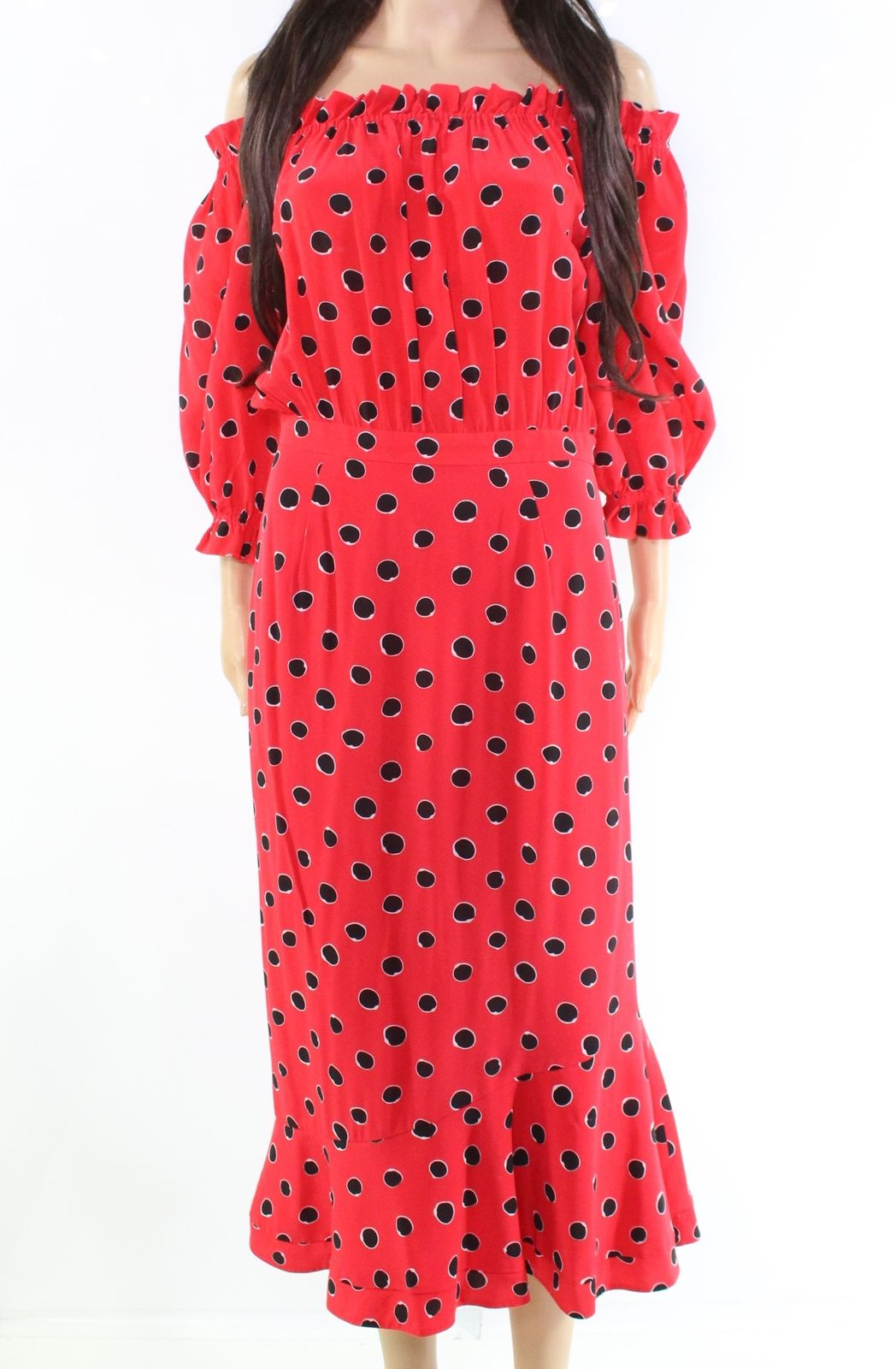5a27de0c85 SALONI Red Women s Size 8 Off Shoulder Polka Dot Sheath Dress  695-  244