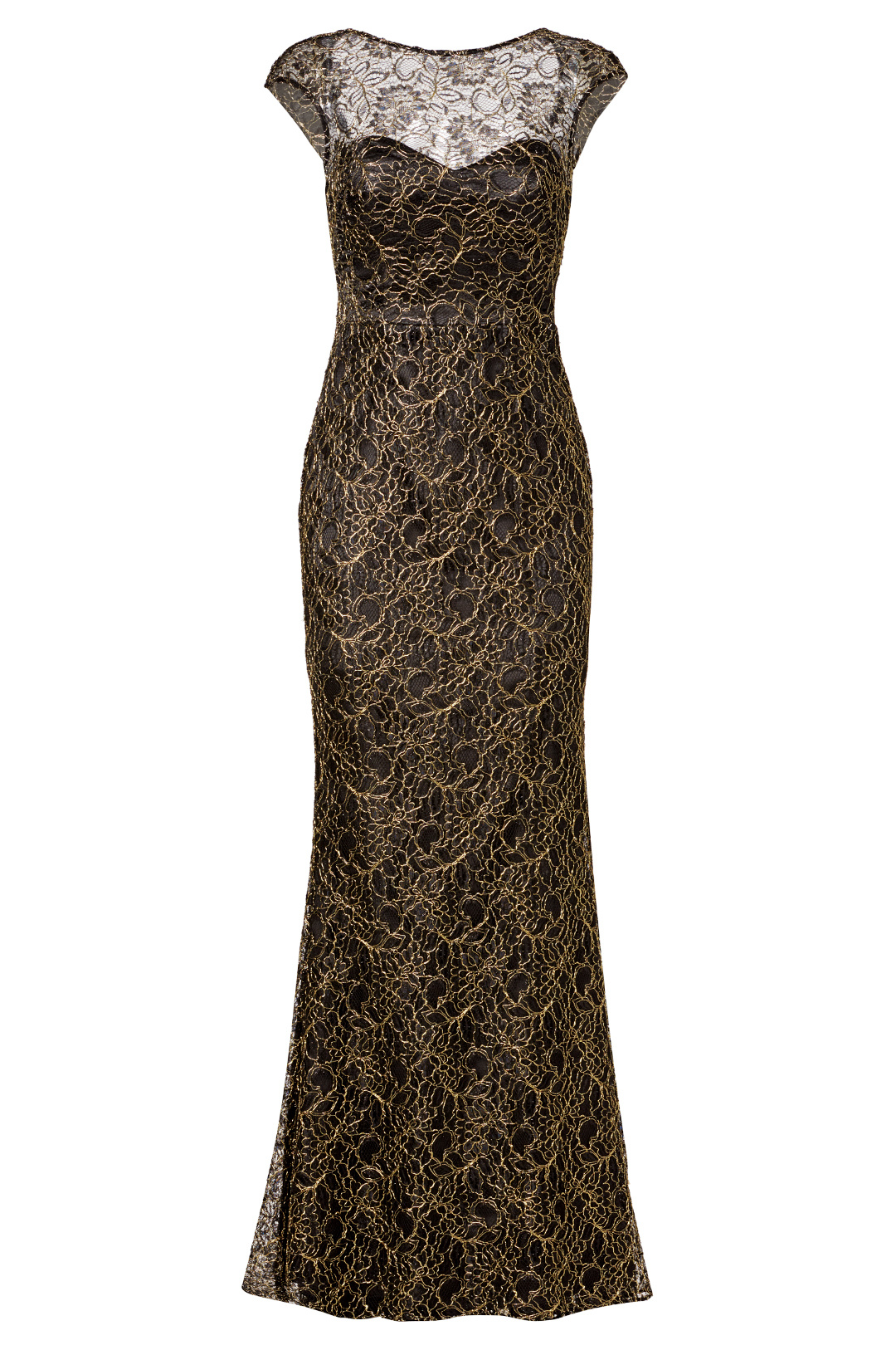 9e572f15ef Details about Theia Gold Black Cap Sleeve Lace Women s Size 6 Sweetheart Gown  Dress  895-  392