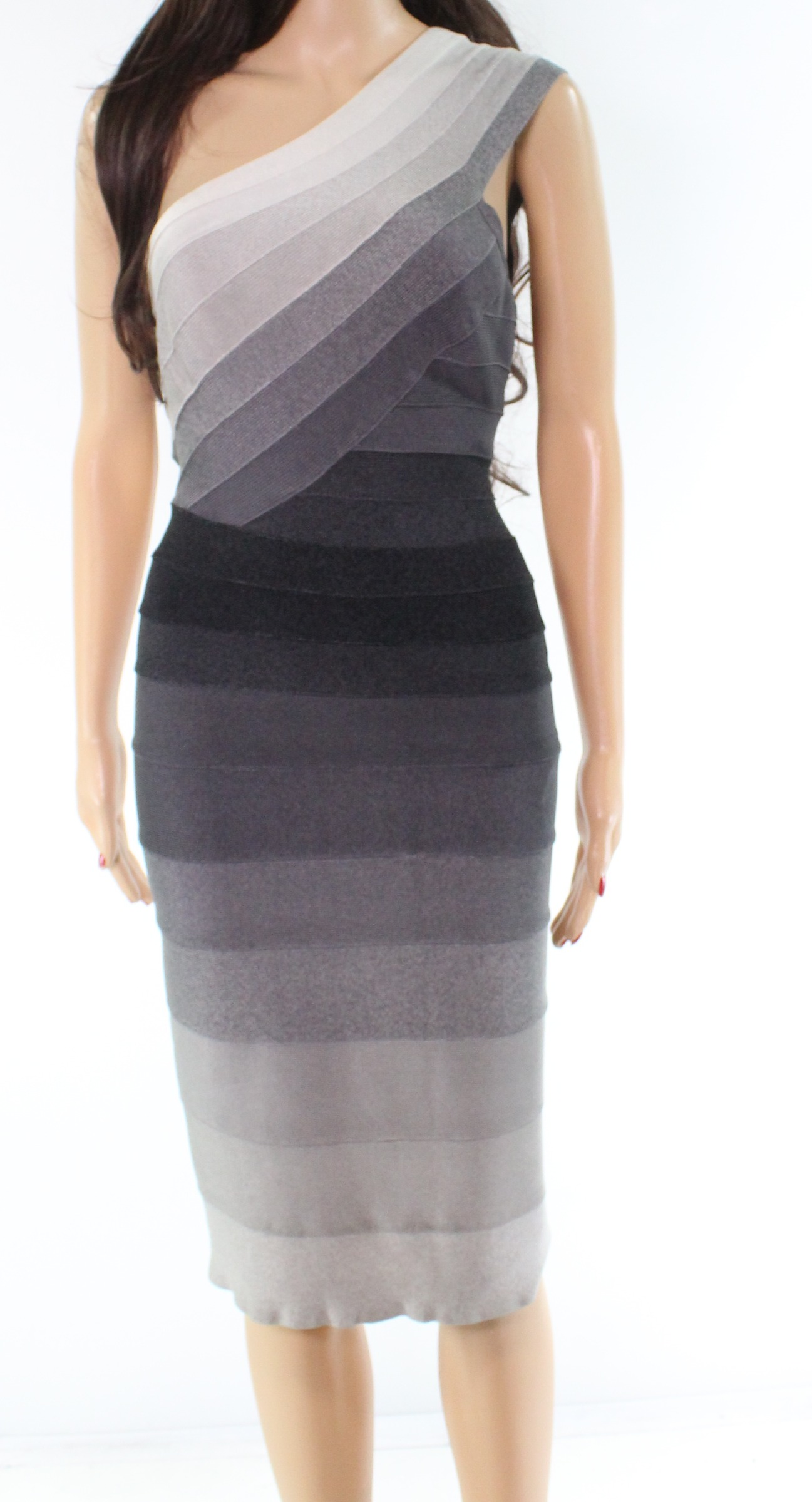 77ee10462283 Details about Herve Leger Gray Striped Knit Bodycon Women s Small S Sheath  Dress  1750-  843
