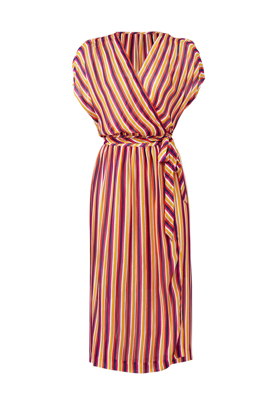 d2a7ca830007 Details about Trina Turk Red Striped Midi Crepe Women s Size Small S Wrap  Dress  298-  827