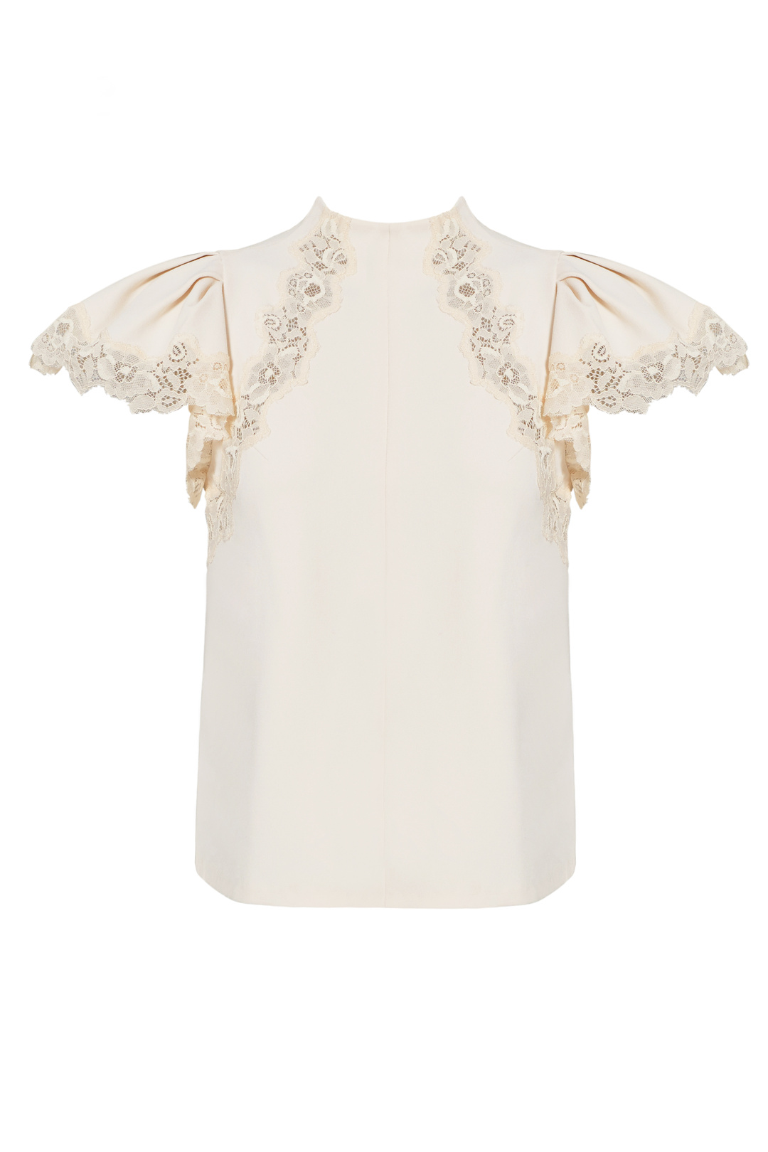 d12bffe8b10eb Details about Rebecca Taylor White Ivory Ruffled Floral Lace Cap Sleeve 8  Blouse  325-  176