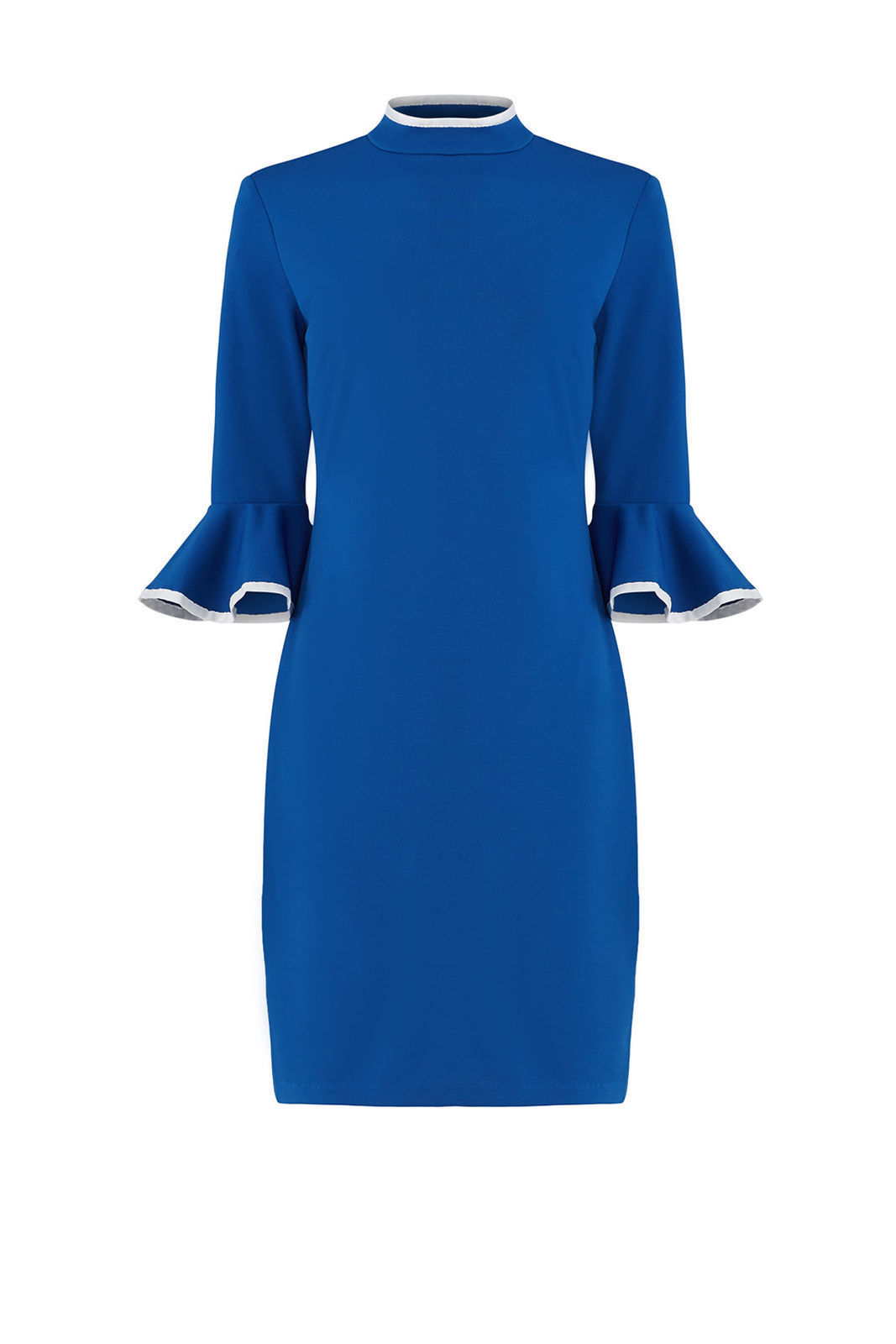 Alexia Admor Blue Womens Size XL Ruffle Sleeve Mock Neck Sheath Dress $245- #863