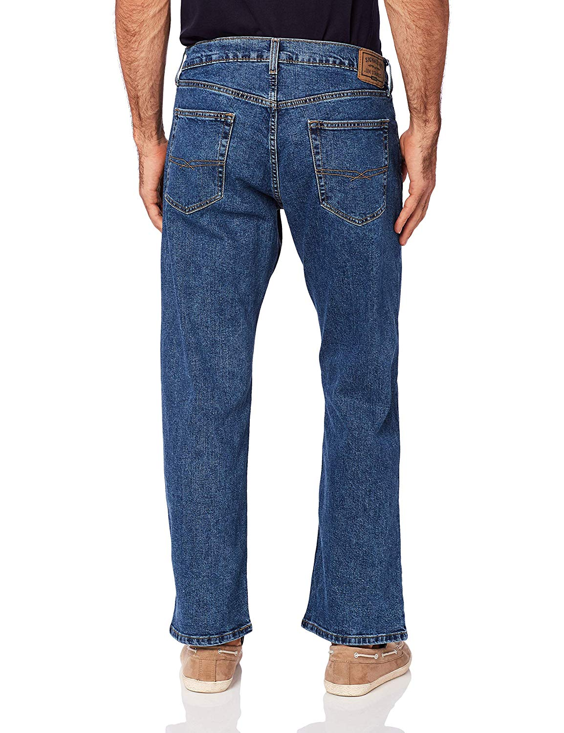 Signature-By-Levi-Strauss-amp-Co-Gold-Label-Indigo-Mens-Relaxed-Flex-Jeans miniature 2