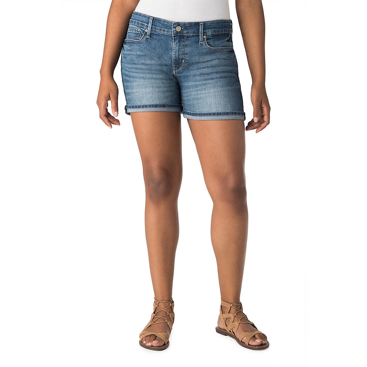 9cc1e0c6 Details about Levi's Signature Gold By Levi Strauss NEW Onyx Blue Women Mid- Rise Denim Shorts