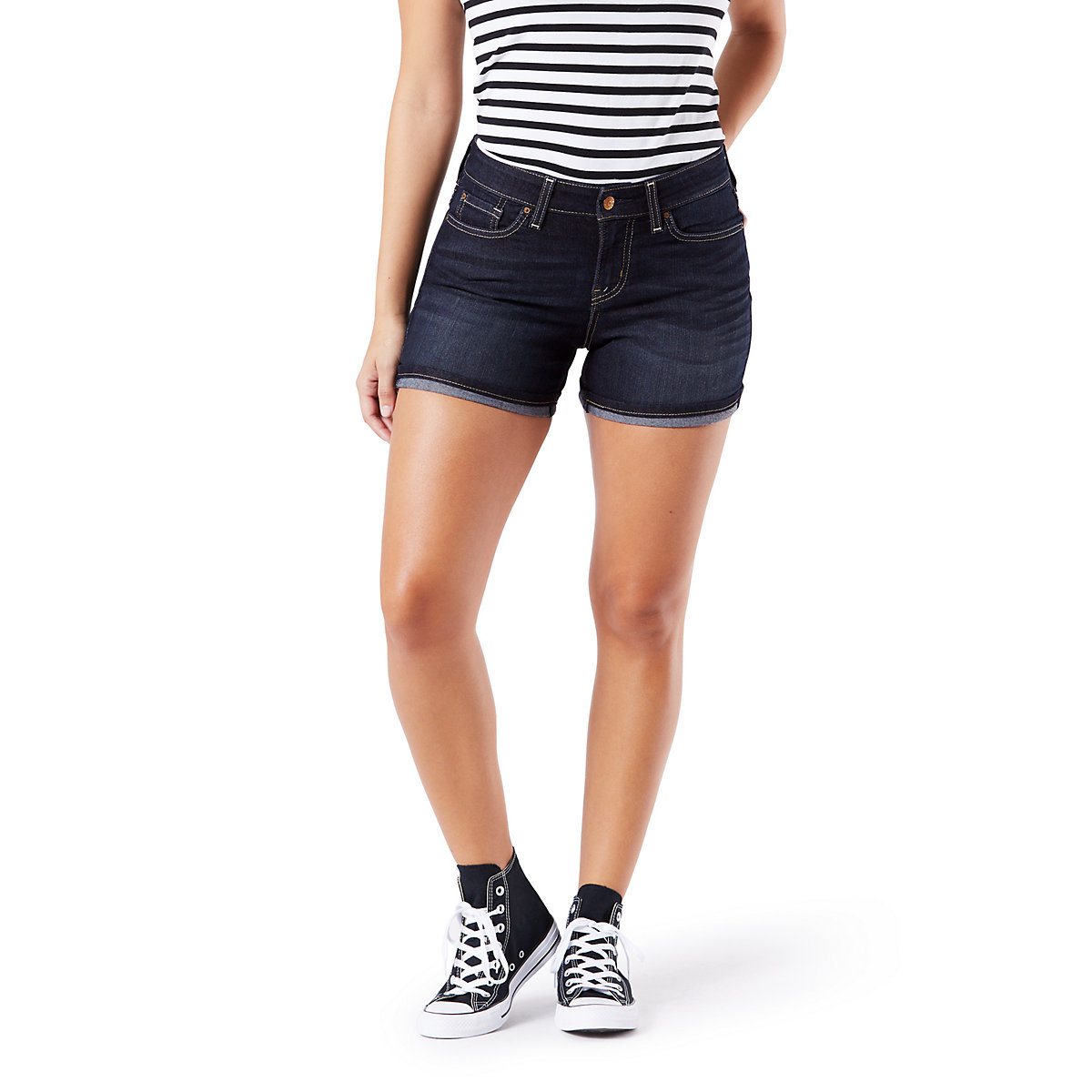c490cf48 Details about Levi's Signature Gold By Levi Strauss NEW Stormy Sky Women  Mid-Rise Denim Shorts