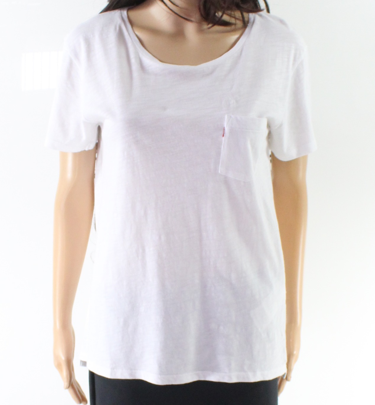 New-Levi-039-s-NEW-White-Women-039-s-Size-XL-Front-Pocket-Scoop-Neck-Knit-Top-32-608