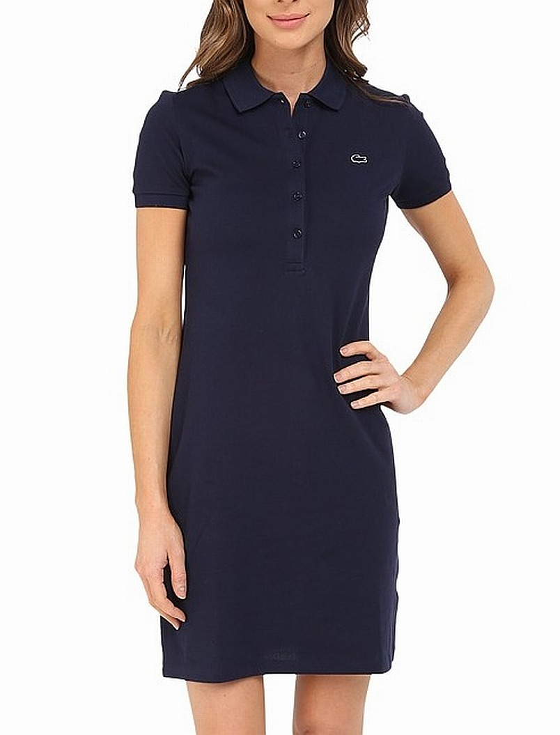 a83abe3ea6c0 Lacoste NEW Blue Women's Size 4 Short Sleeve Stretch Pique Polo ...