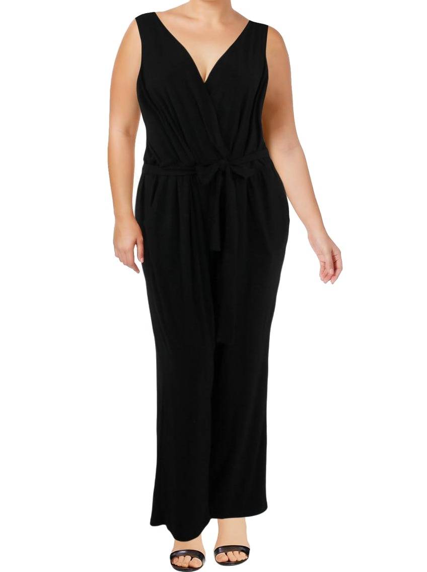 be903759a766f NY Collection NEW Black Women s Size 3X Plus Sleeveless Belted Jumpsuit  69   308