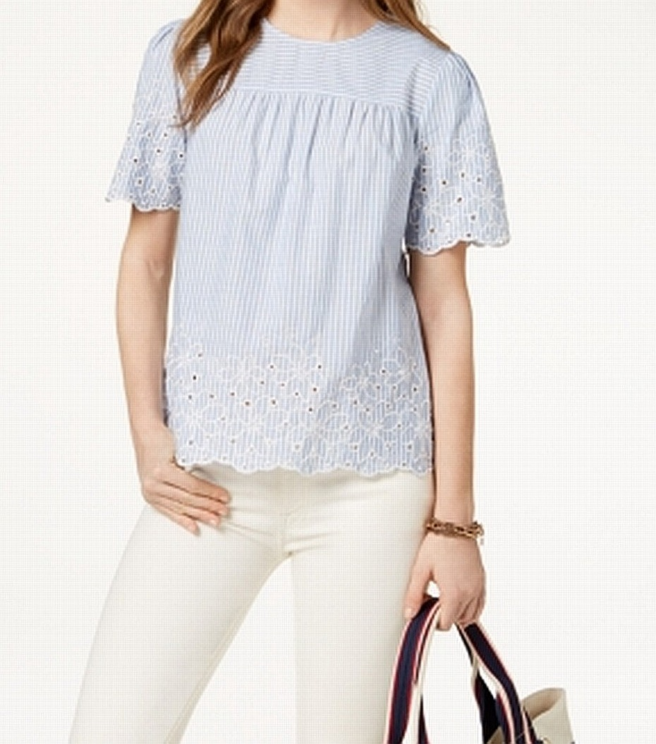 aaeee111 Details about Tommy Hilfiger NEW Blue Women's Size Large L Striped  Embroidered Blouse $79 #566