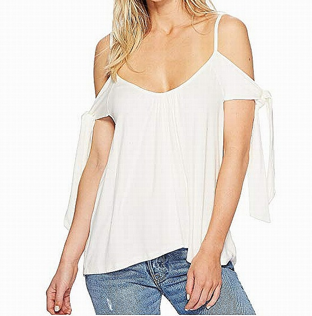 a67a49a1ed1f2 Free People NEW White Ivory Women s XXS Believe Me Cold-Shoulder Top  58   006