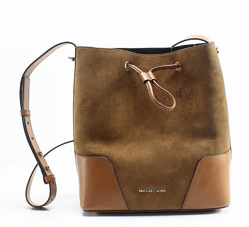 0dedb8204aa1 Details about Michael Kors NEW Brown Suede Leather Cary Small Bucket  Shoulder Bag  328-  003