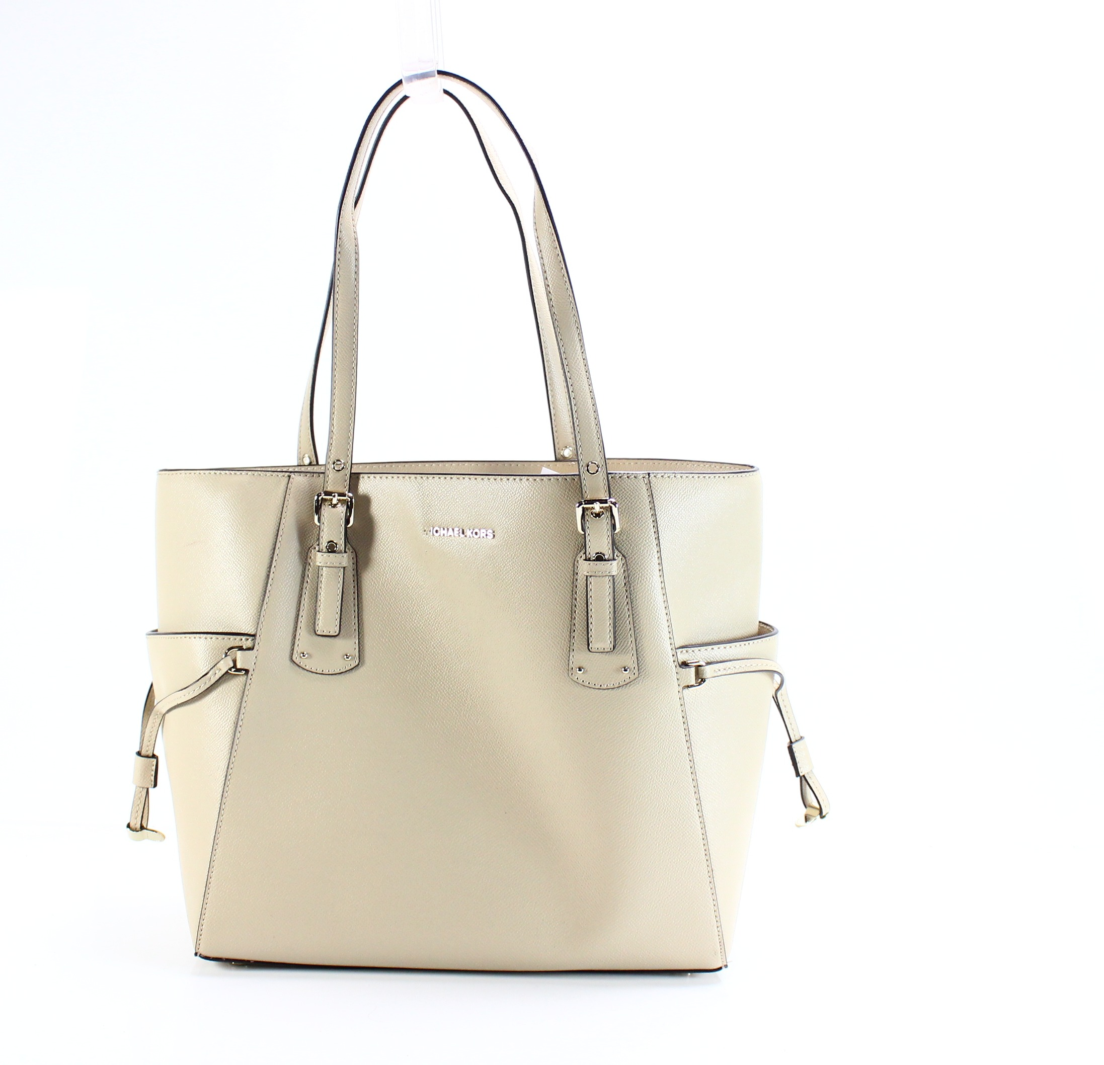db5bc33e2a50 Details about Michael Kors NEW Beige Oat Gold Voyager EW MEdium Tote  Leather Purse $228- #013