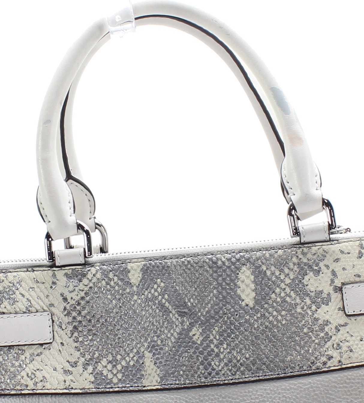 bd2f26e5fc6a Michael Kors Gray Reagan Large Python Embossed Leather Satchel  378 ...