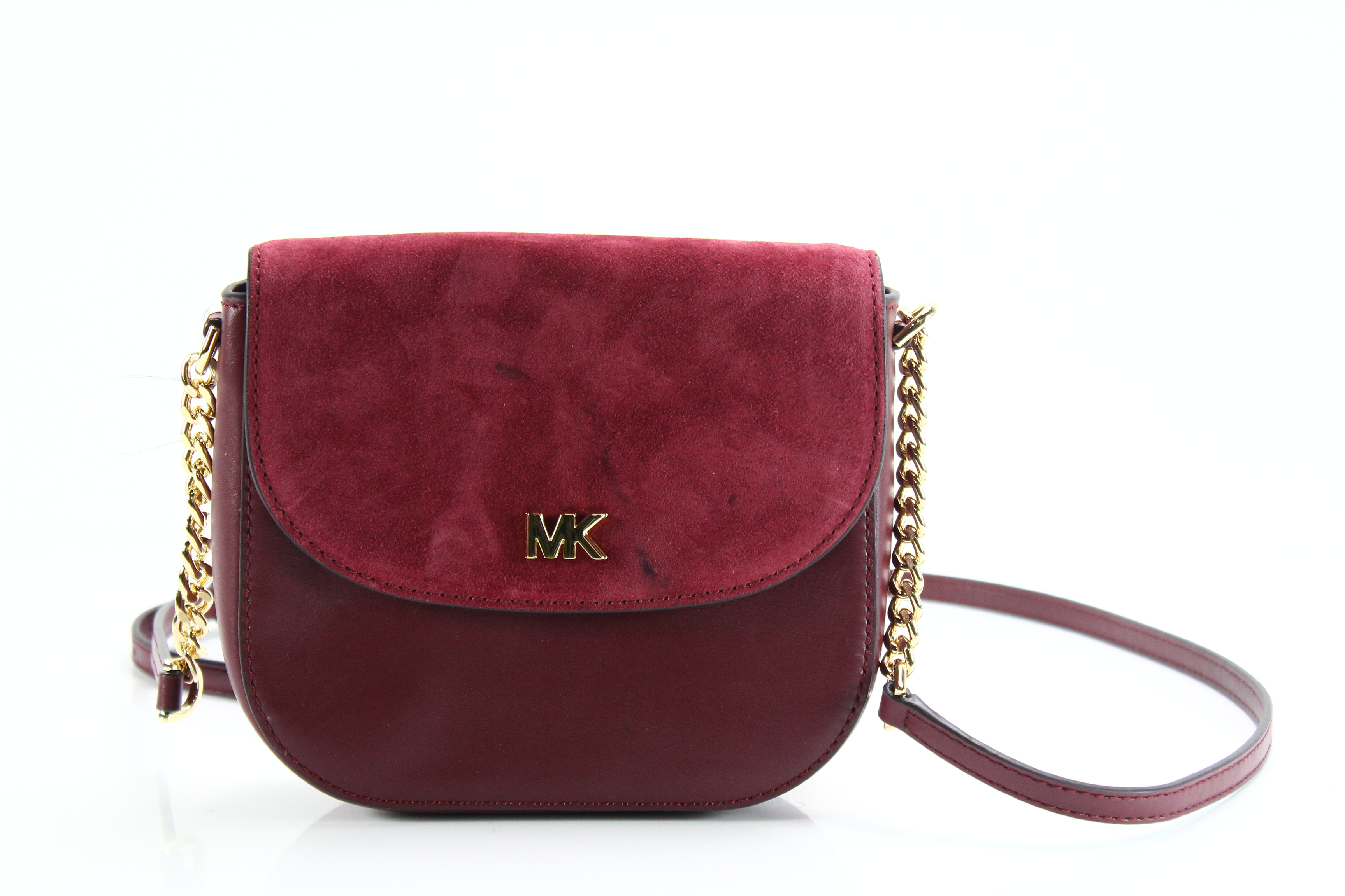 9696a343019634 Michael Kors NEW Red Maroon Gold Half Dome Small Crossbody Leather Bag $148  #068