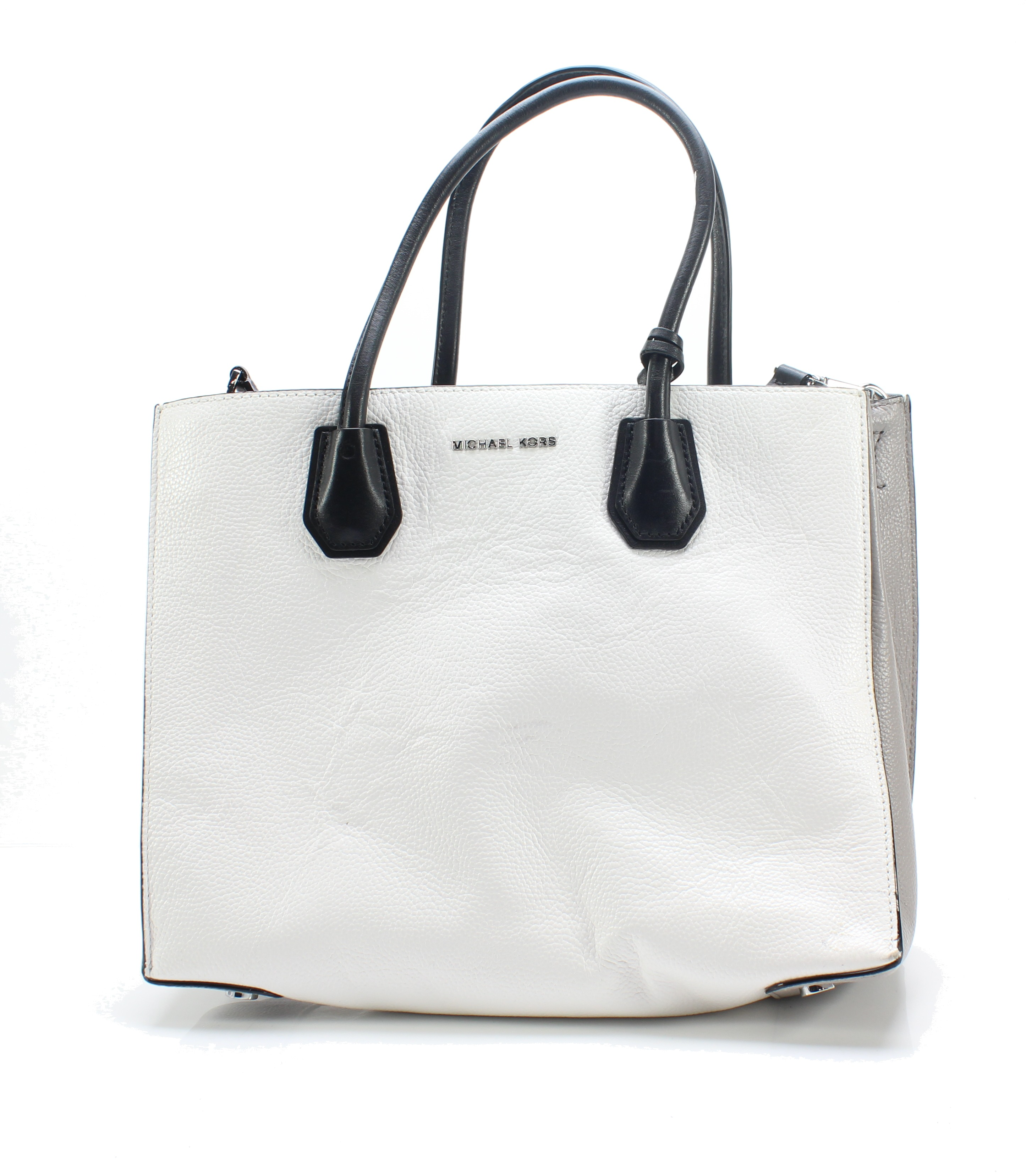 f0e5f58736f9 Details about Michael Kors NEW Optic White Silver Mercer Large Convertible  Tote Bag $298- #020