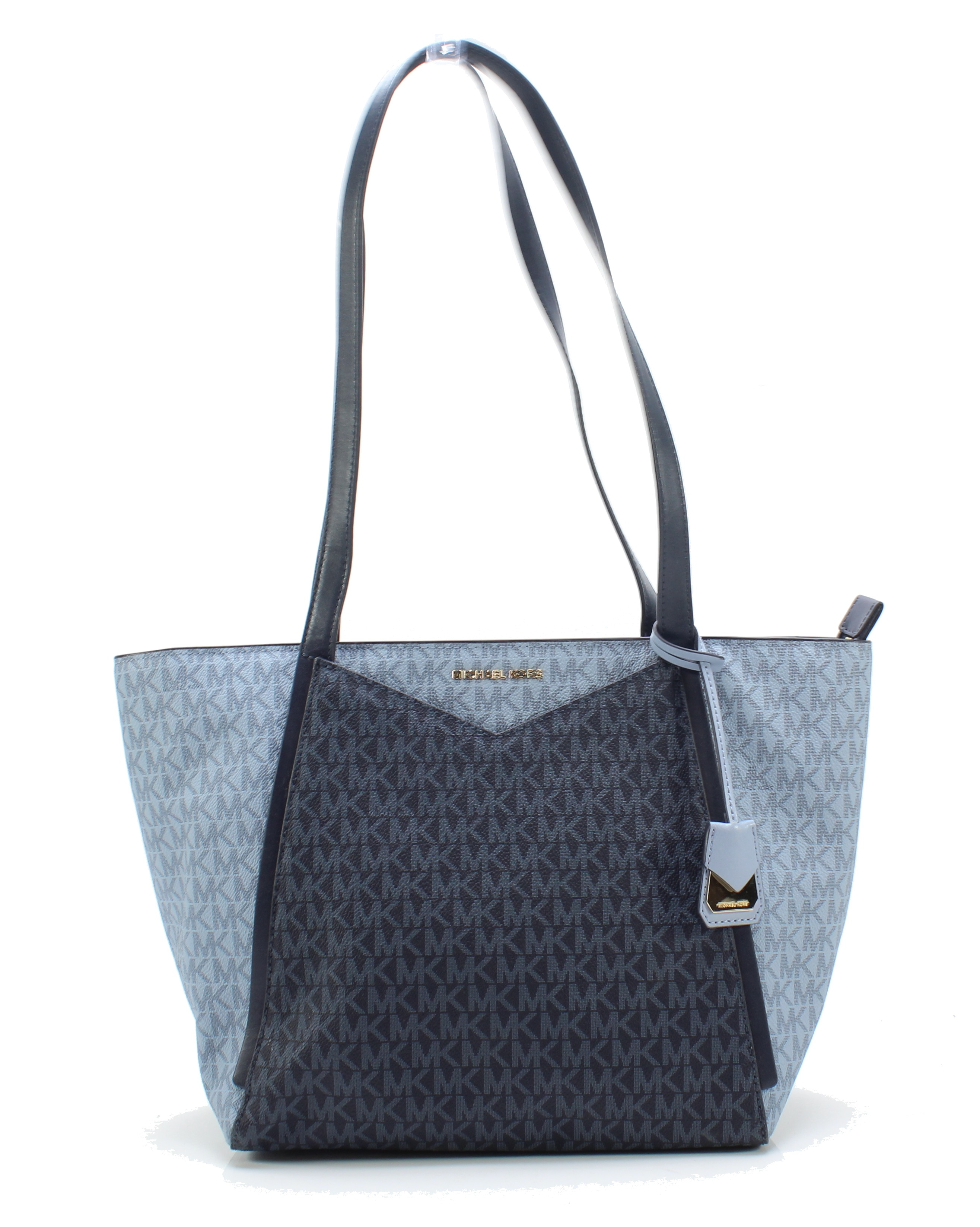 9d0b81827067 Details about Michael Kors NEW Blue Gold Signature Whitney Small Top-Zip  Tote $228- #023