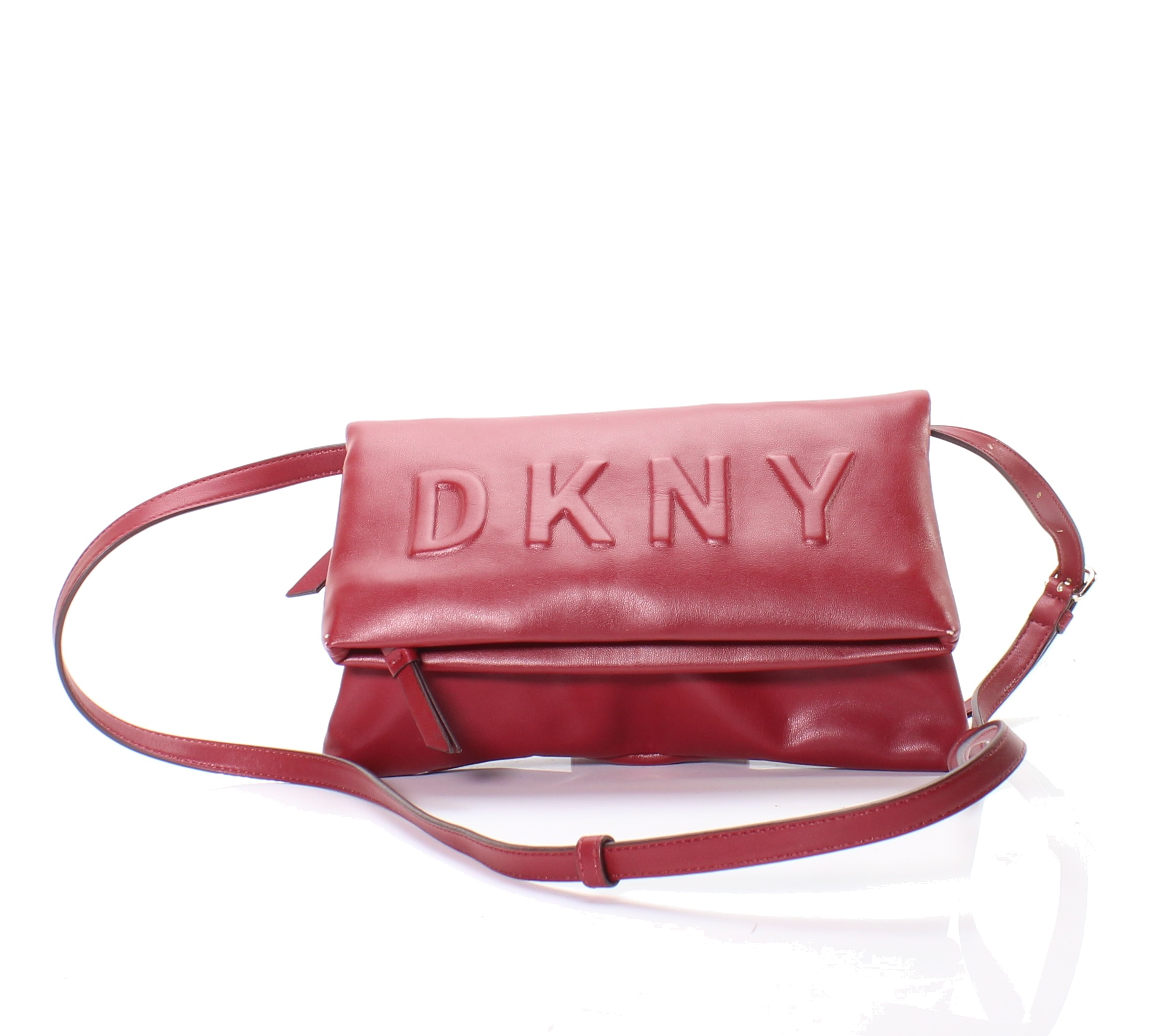 ea9be4d444d402 DKNY NEW Scarlet Red Gold Tilly Logo Embossed Crossbody Clutch $128- #039